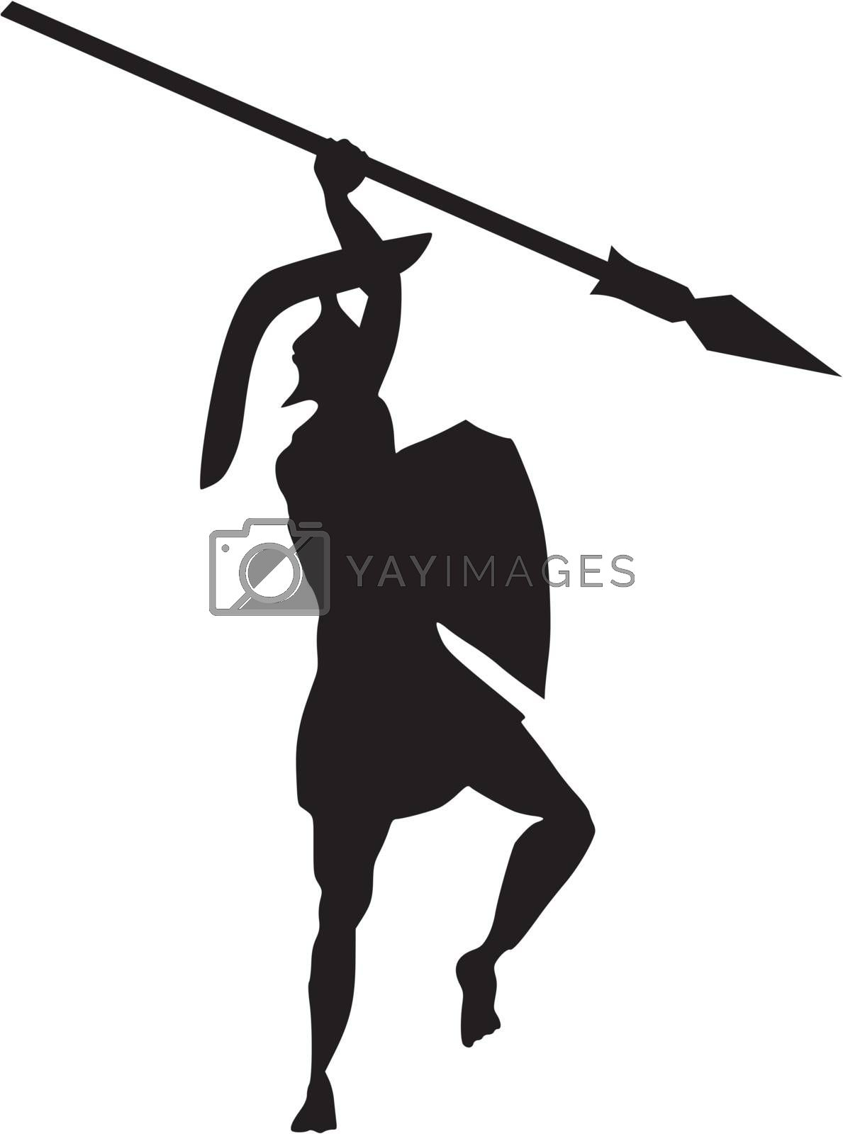 silhouette of ancient Greek warrior on white