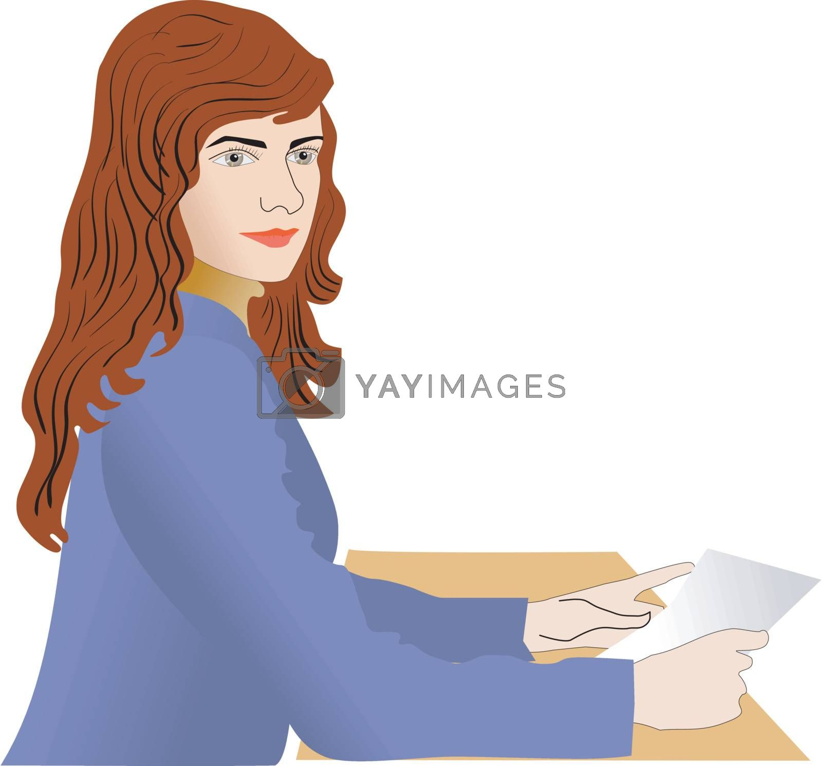 Girl is sitting at desk with book