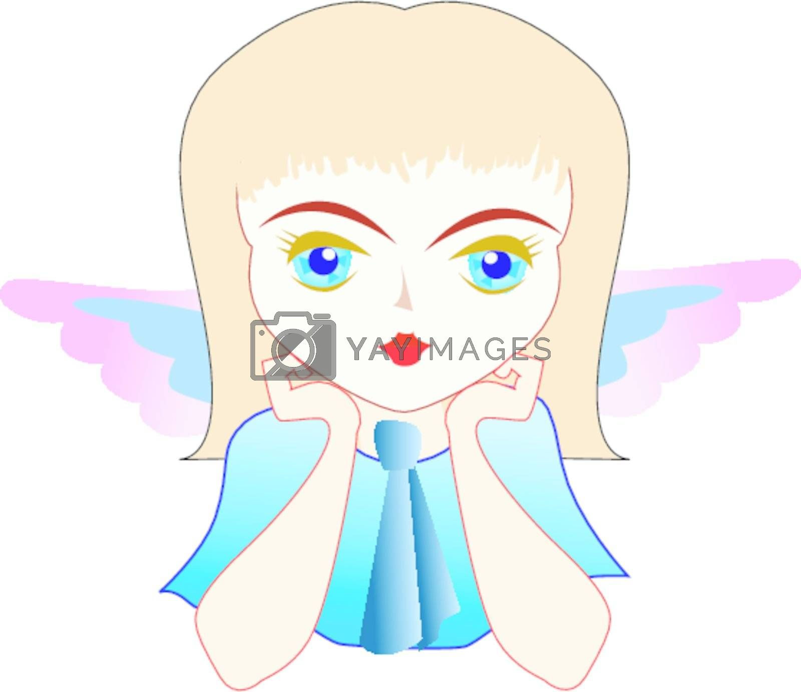 One little nice girl with angel wings