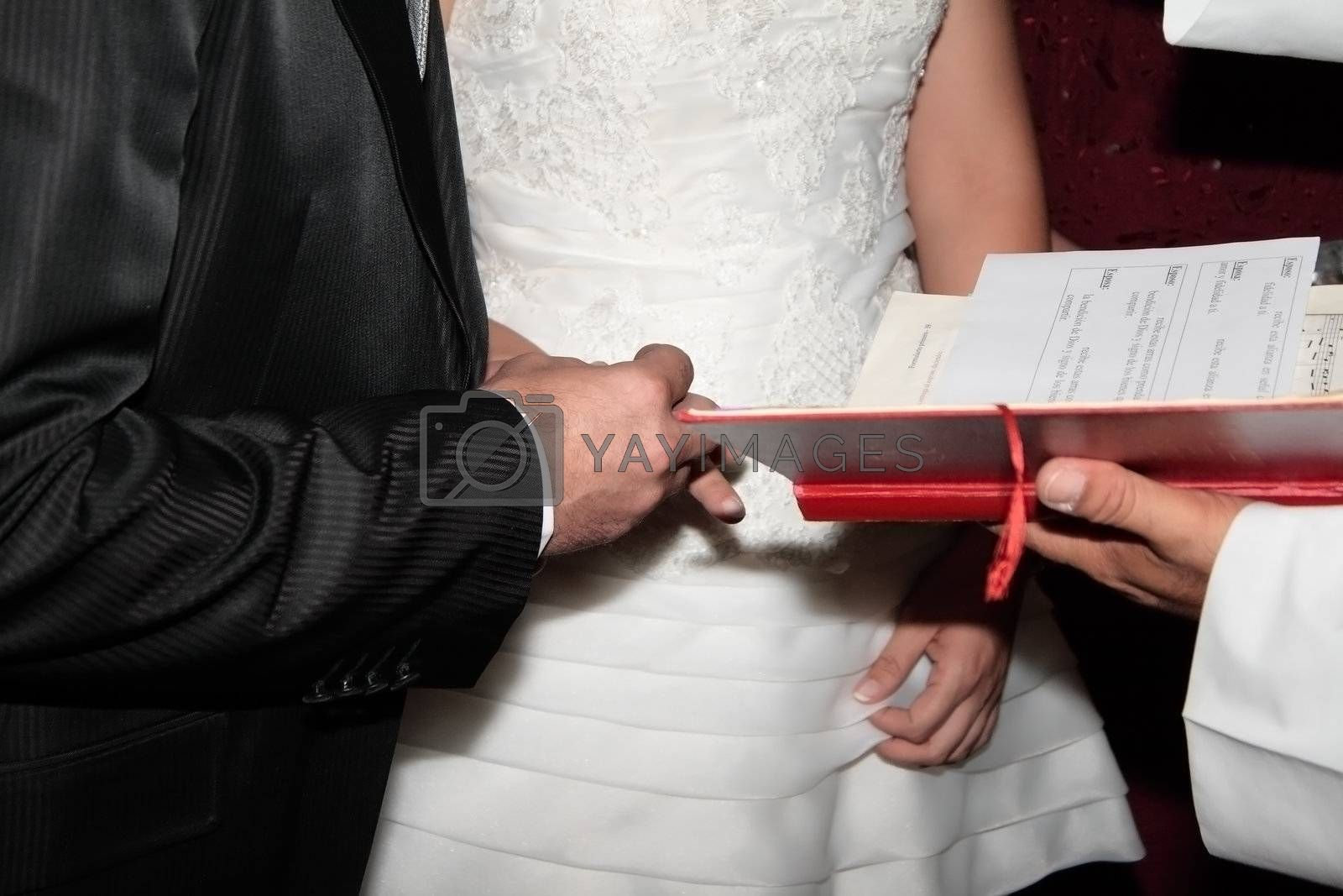 action to put the rings and give consent on a wedding