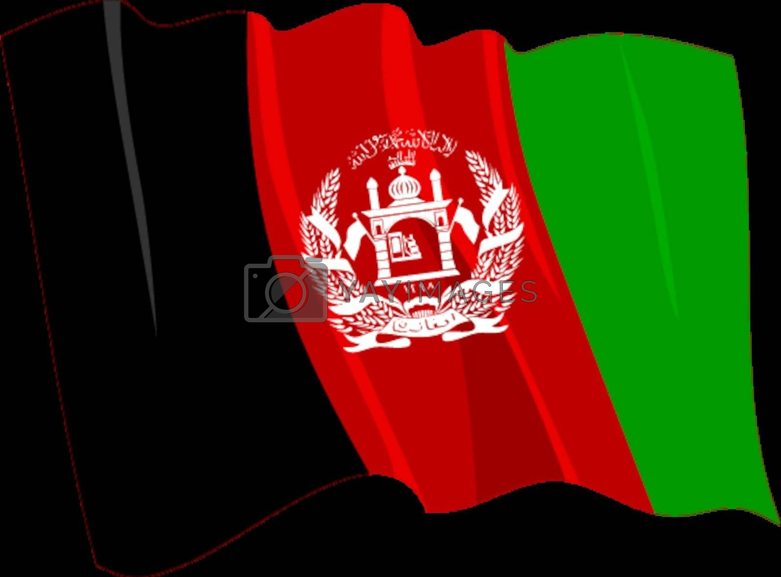 Political waving flag of Afghanistan