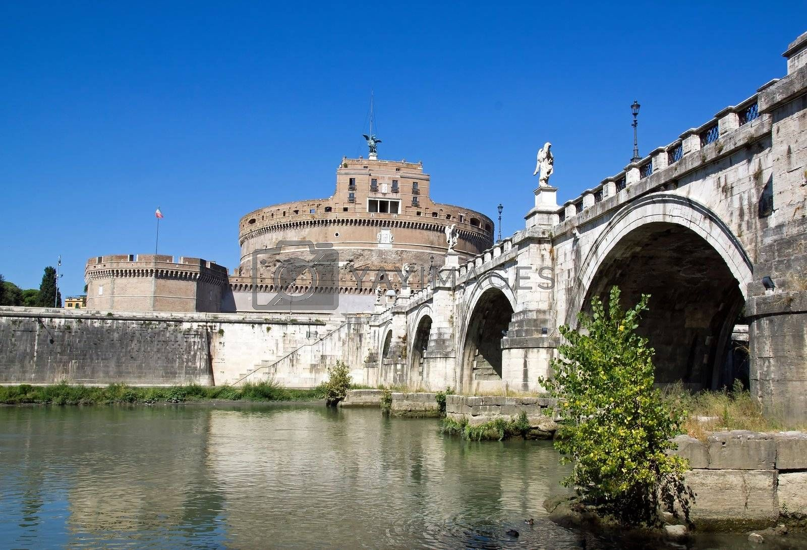St Angel Castle and bridge, seen from one bank of the Tiber (Rome Italy)