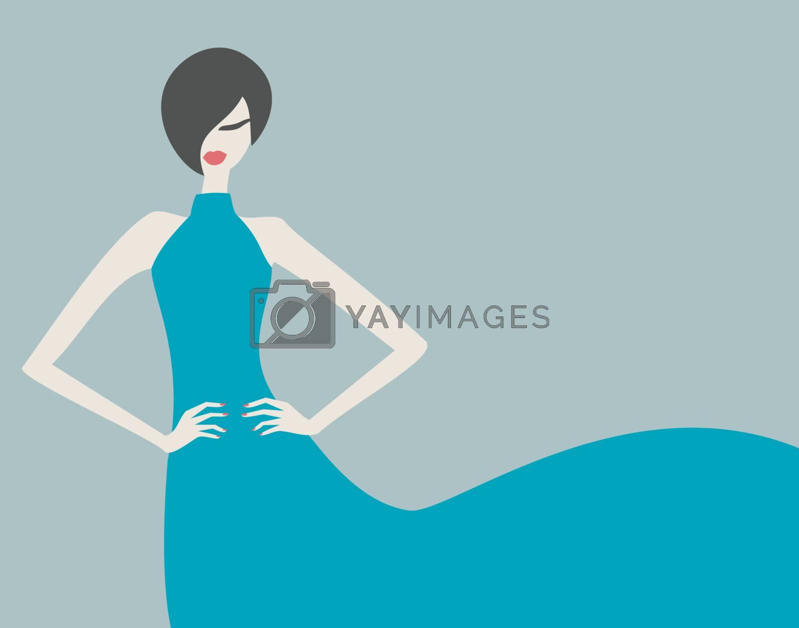Elegant fashion model in a beautiful blue dress.
