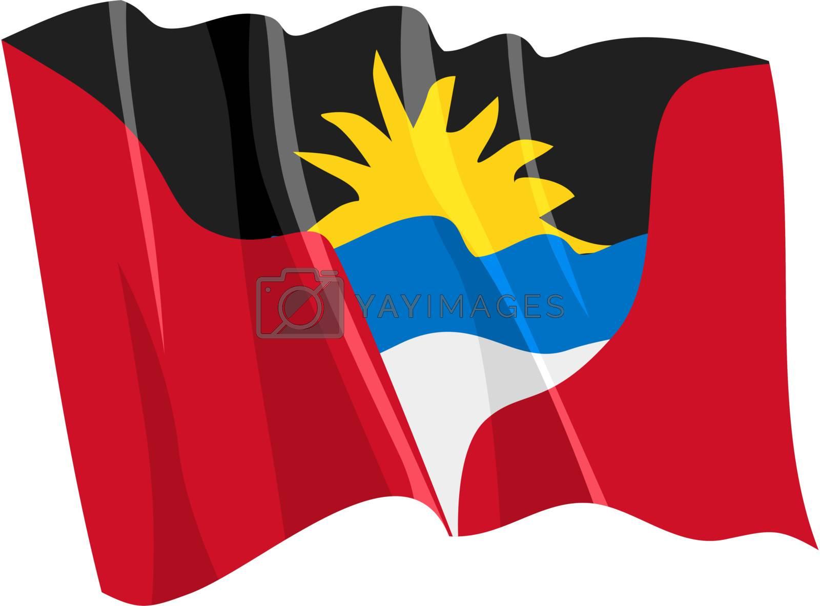 Political waving flag of Antigua and Barbuda