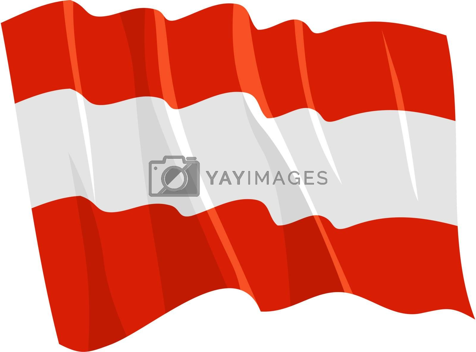 Political waving flag of Austria