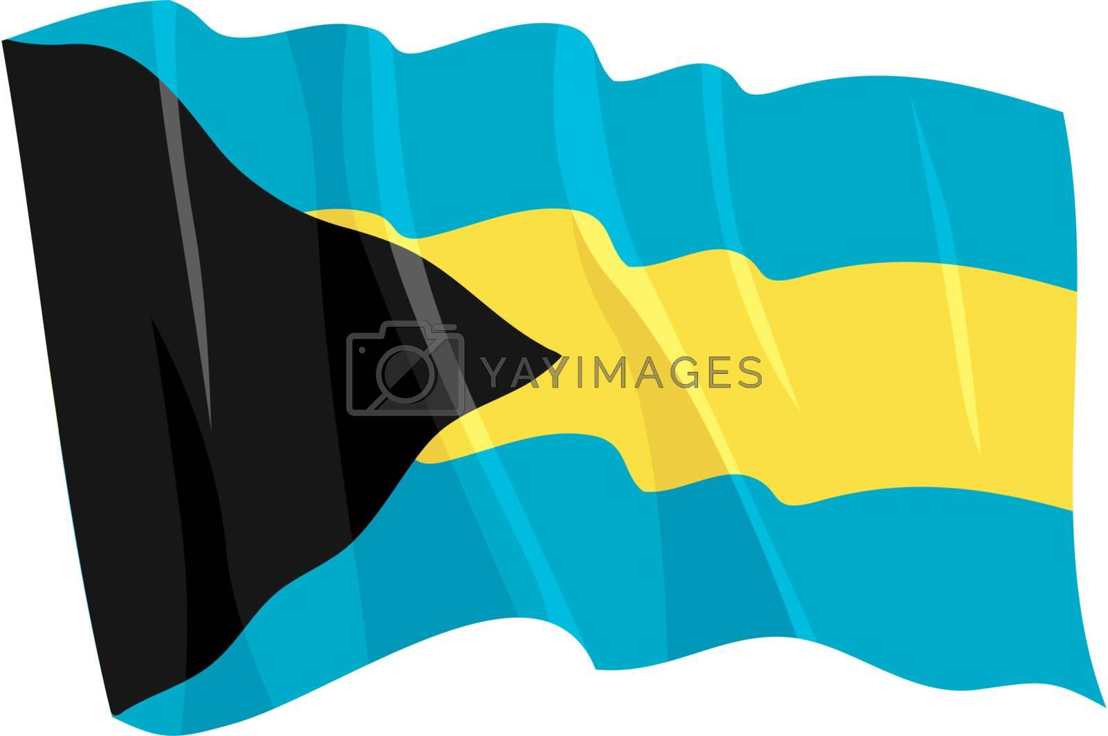 Political waving flag of Bahamas