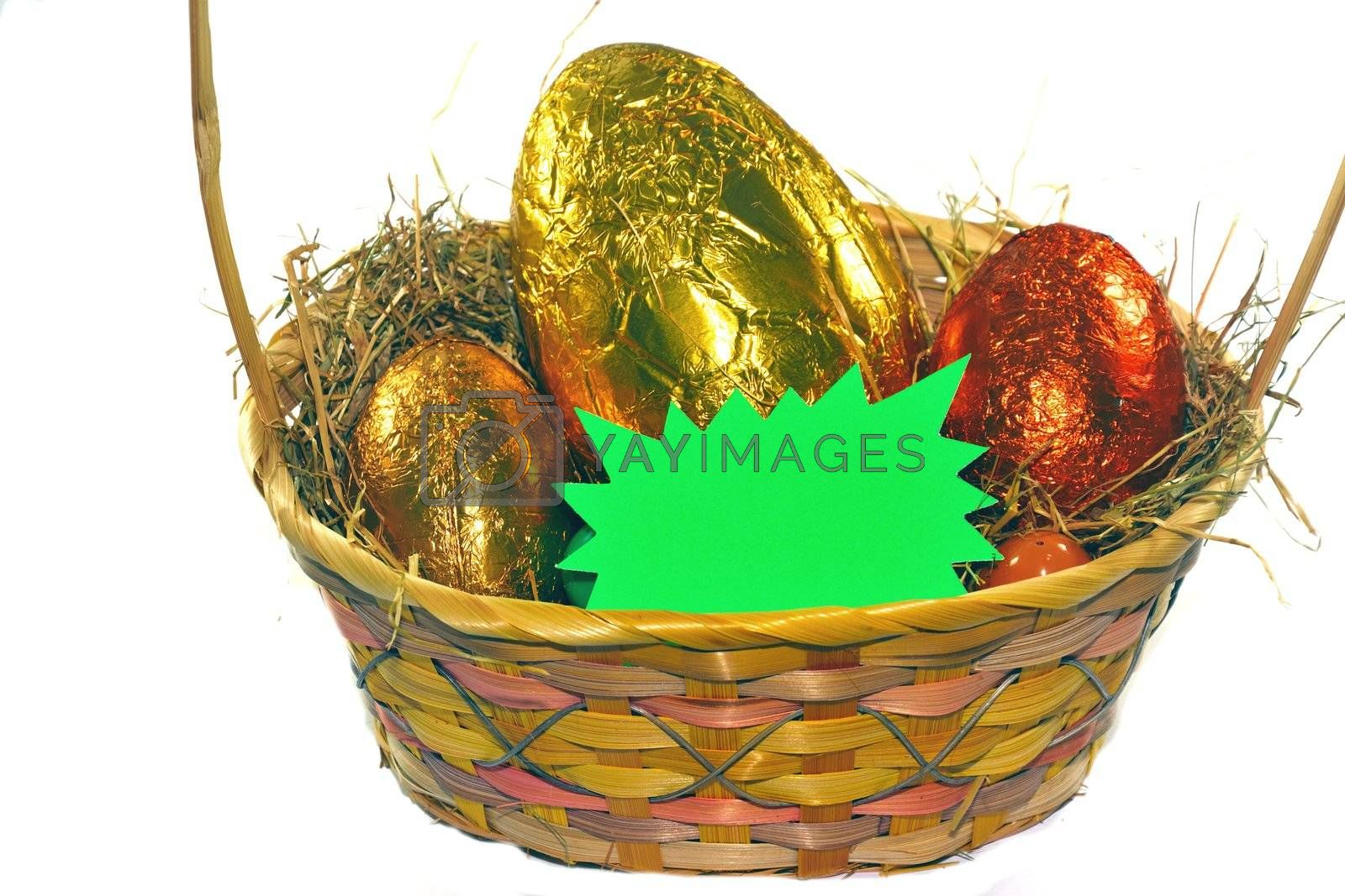 Easter eggs in basket with space for message