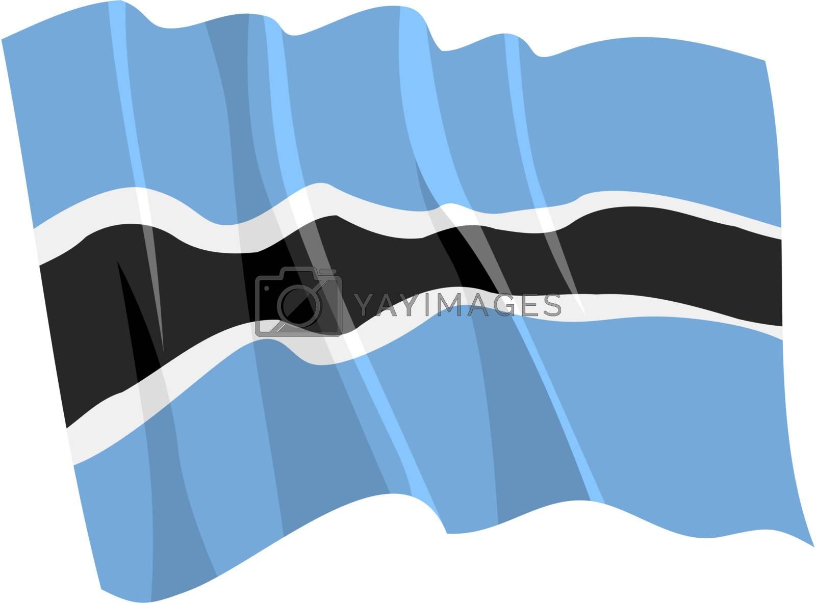 Political waving flag of Botswana