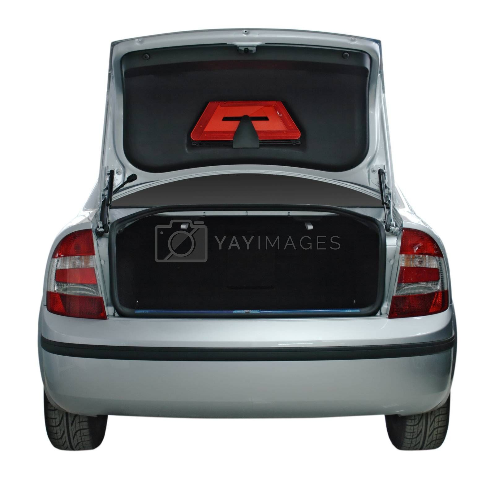 Rear view of a car with an open trunk by Gdolgikh