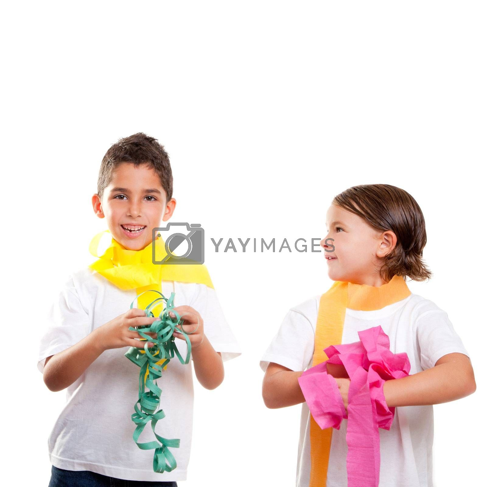 two children kids in a party with messy colorful paper ribbon