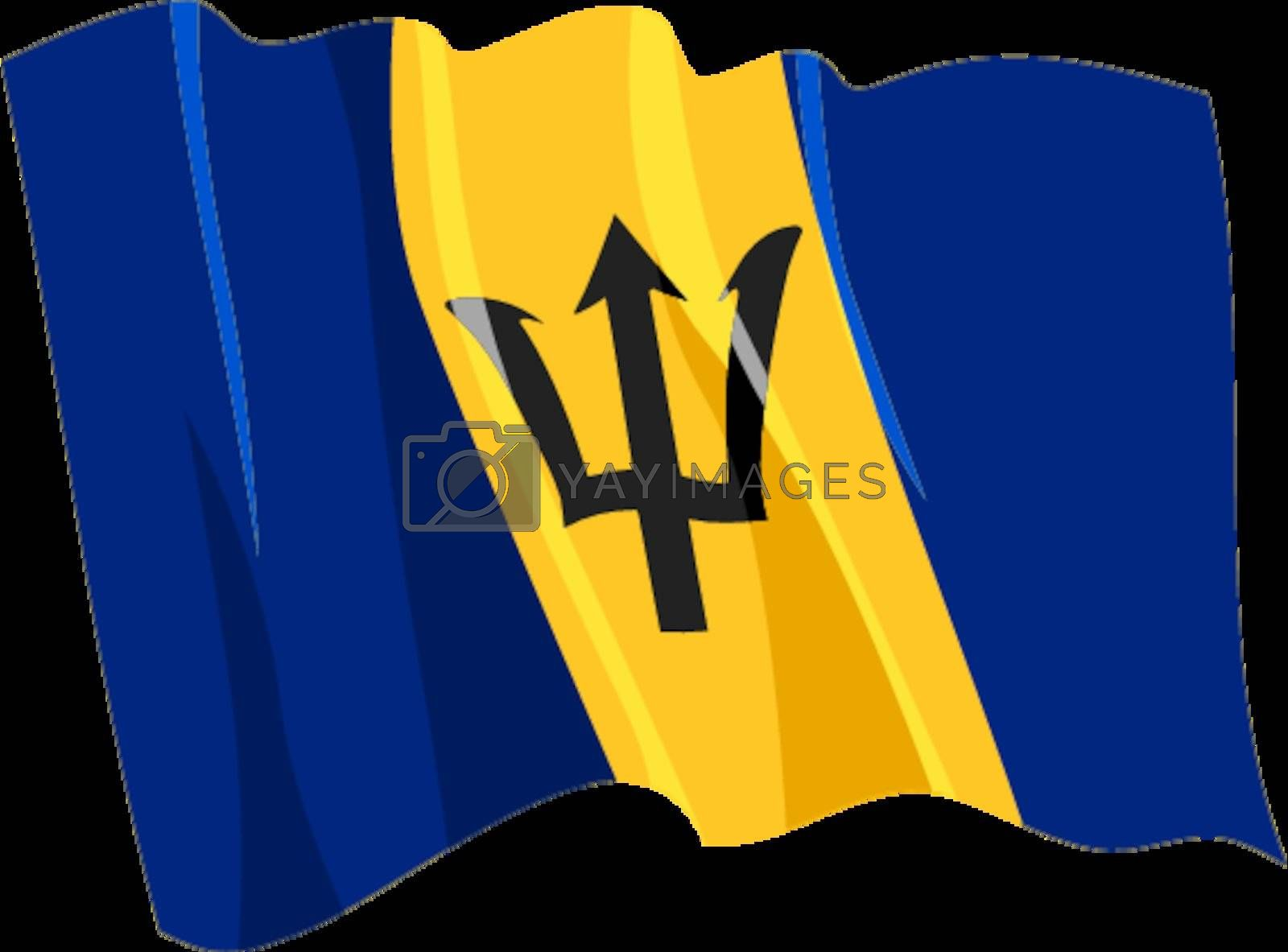 Political waving flag of Barbados