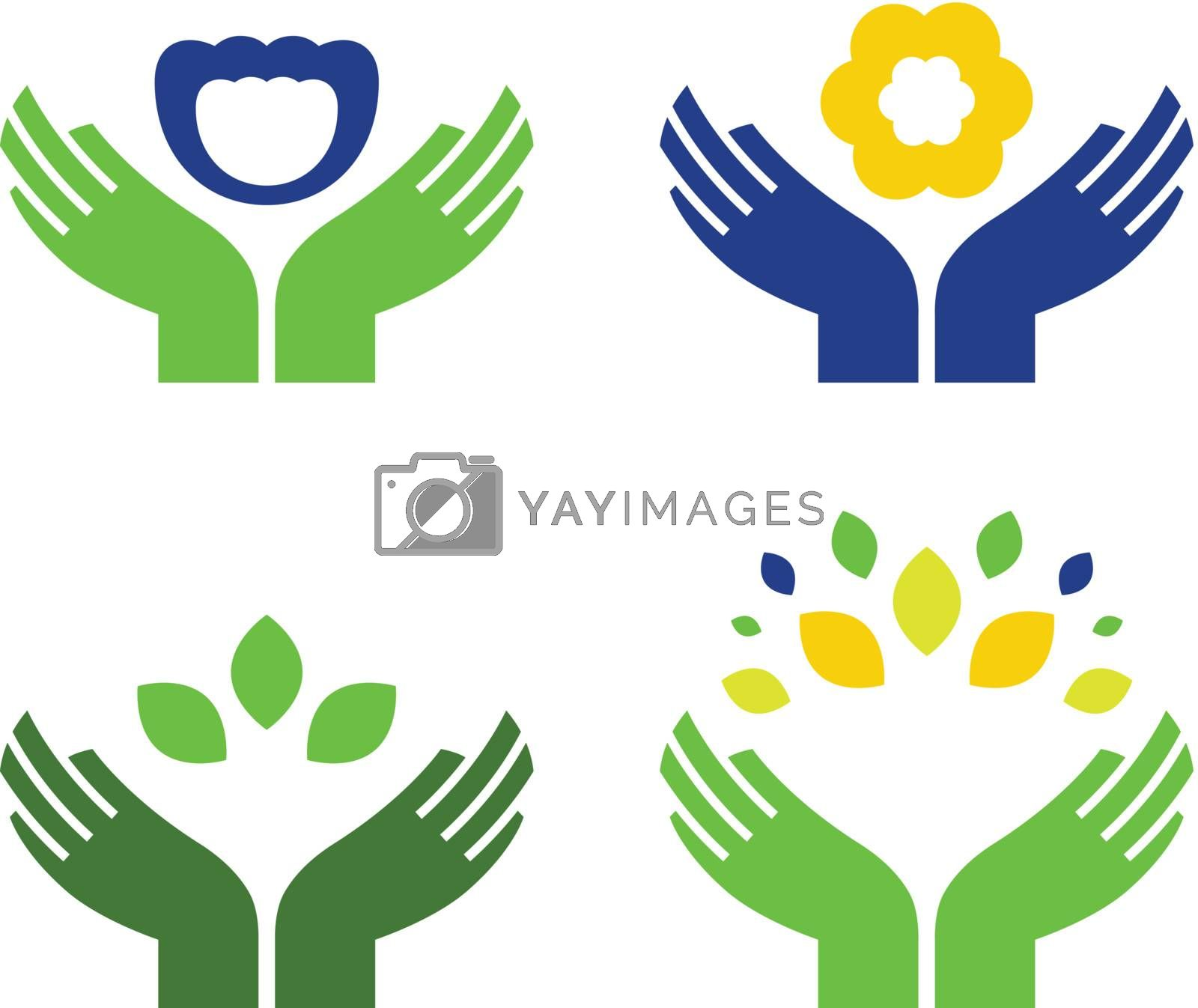 Hands holding flowers and leaves objects. Vector