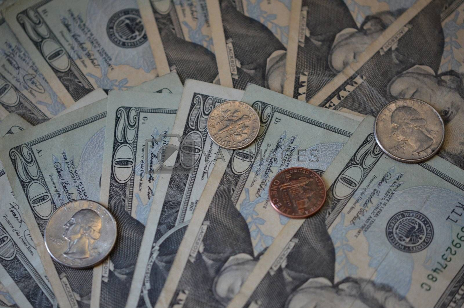 small bills and change in US currency