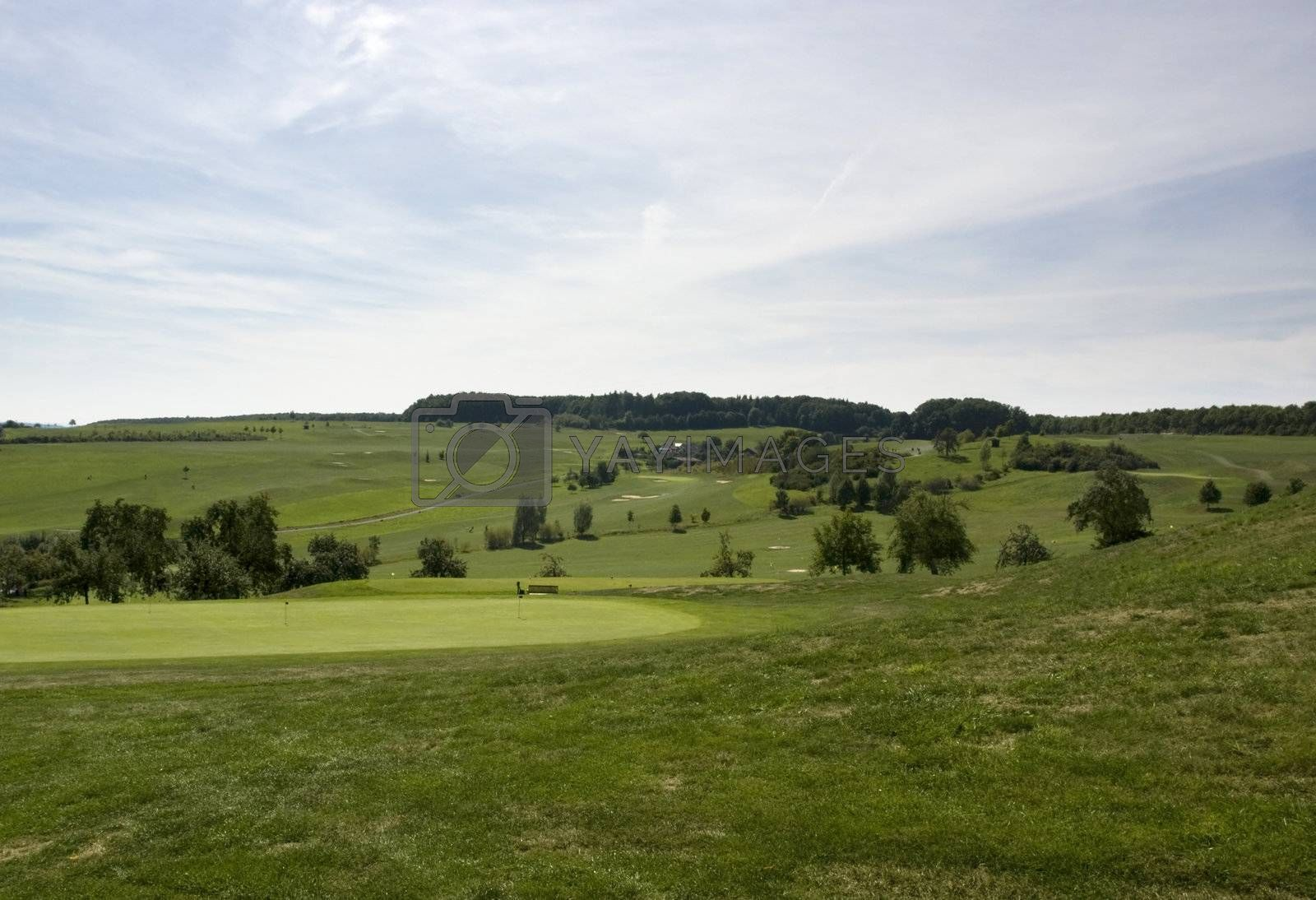 Royalty free image of golf course with green at summer time by gewoldi