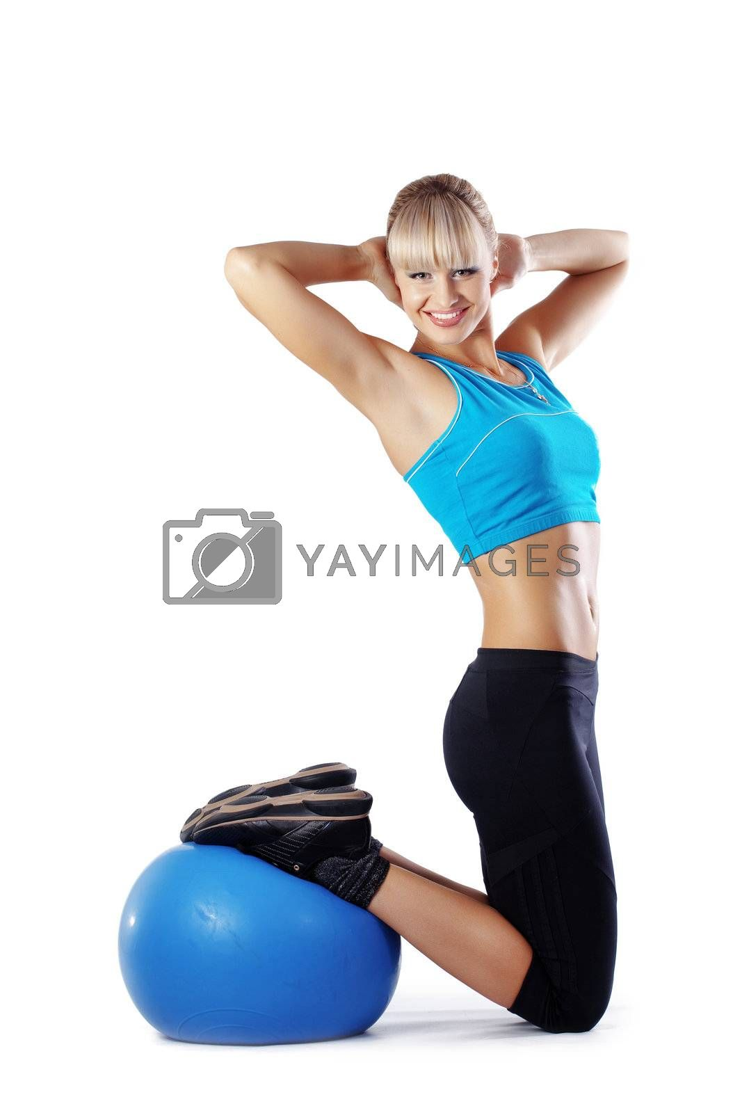 Young beautiful fitness woman over white