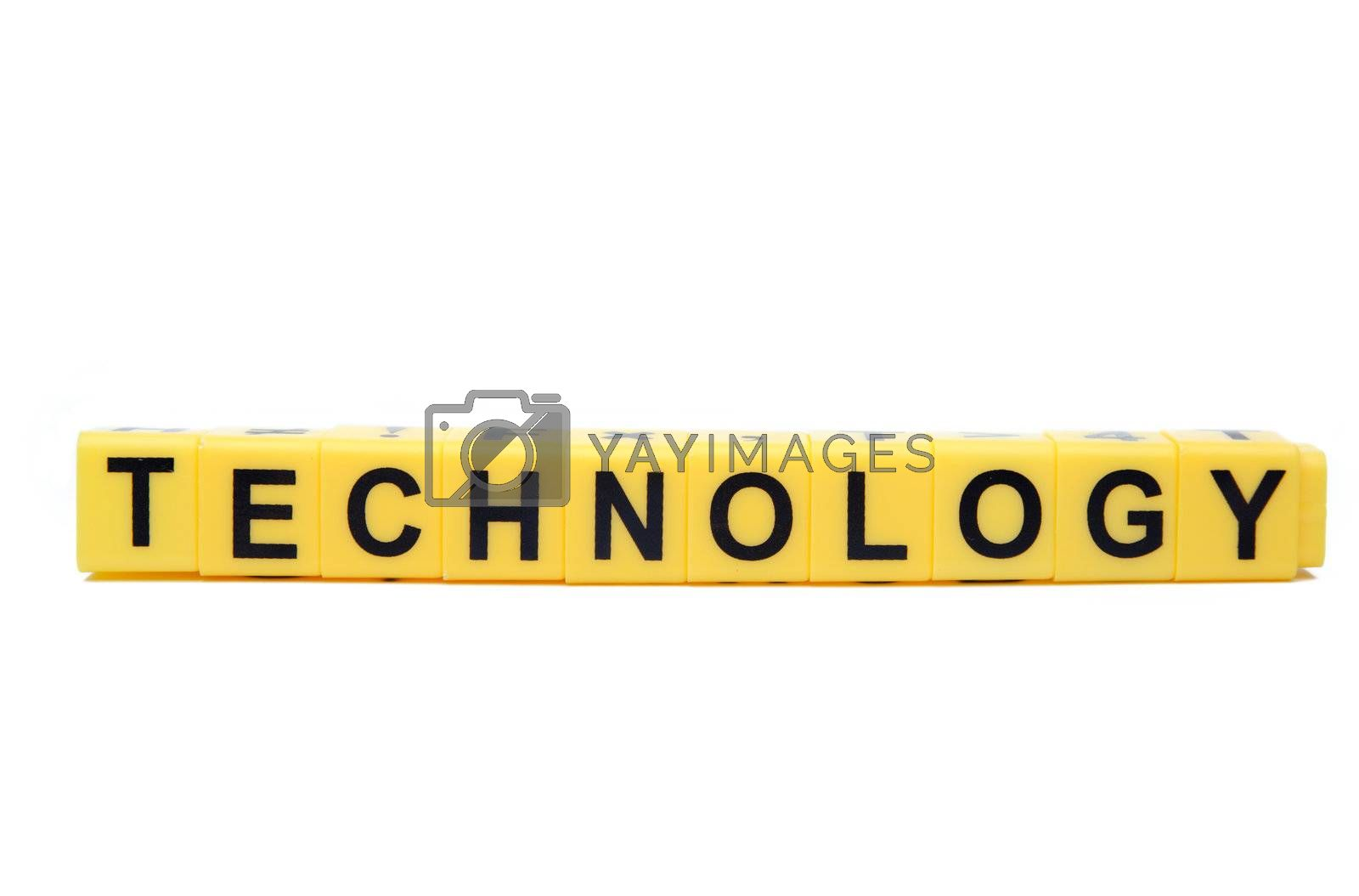 An image of yellow blocks with word ''technology'' on them