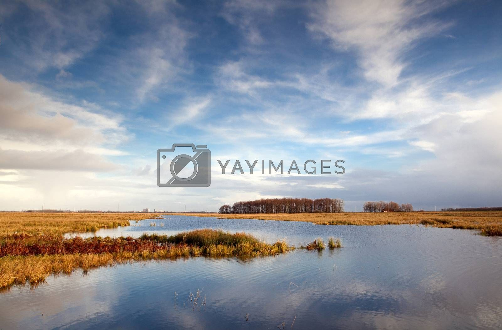 beautiful blue sky with clouds reflected in lake