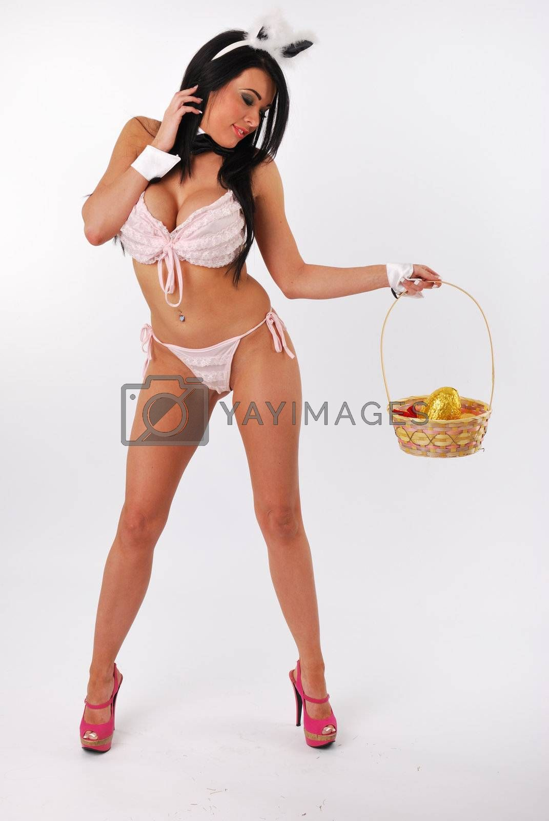 bunny girl standing with easter basket