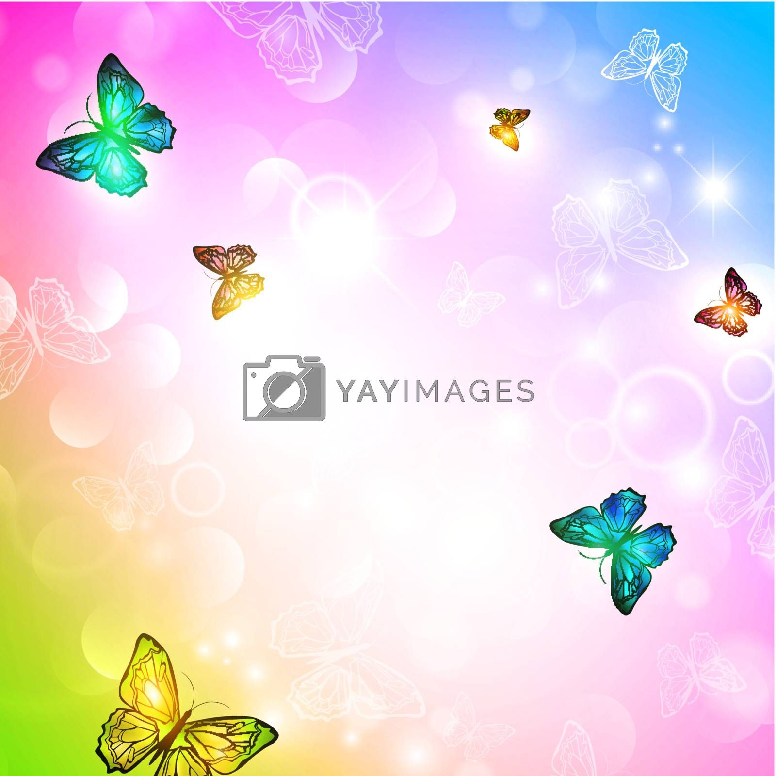 bright background with butterfly