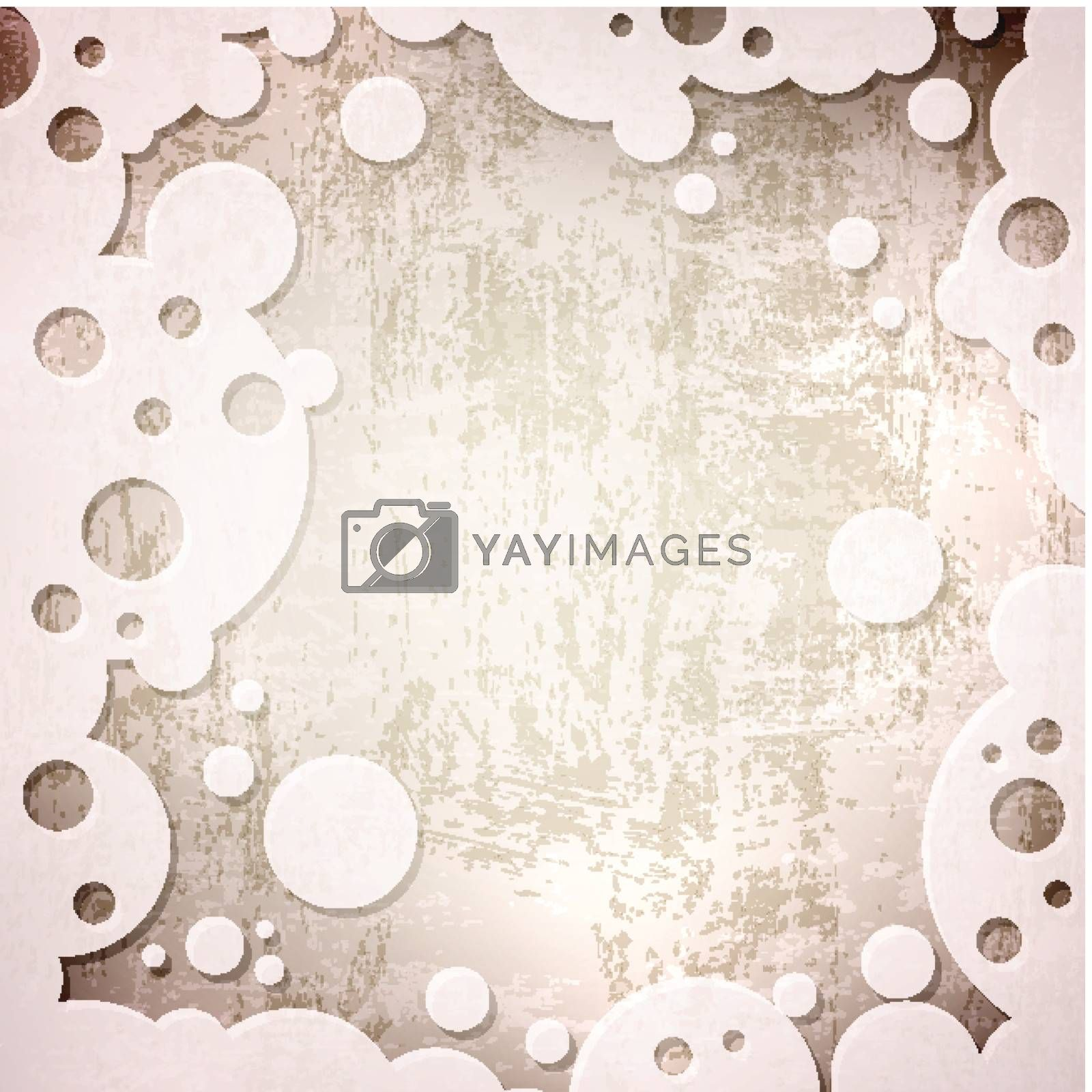 abstract vintage grunge background in abstract frame with round shapes