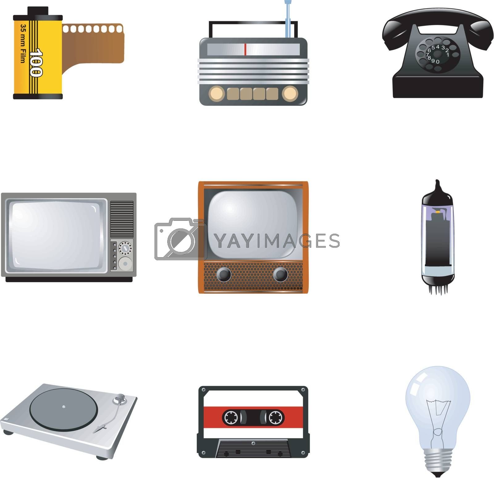set of the different vintage electronics
