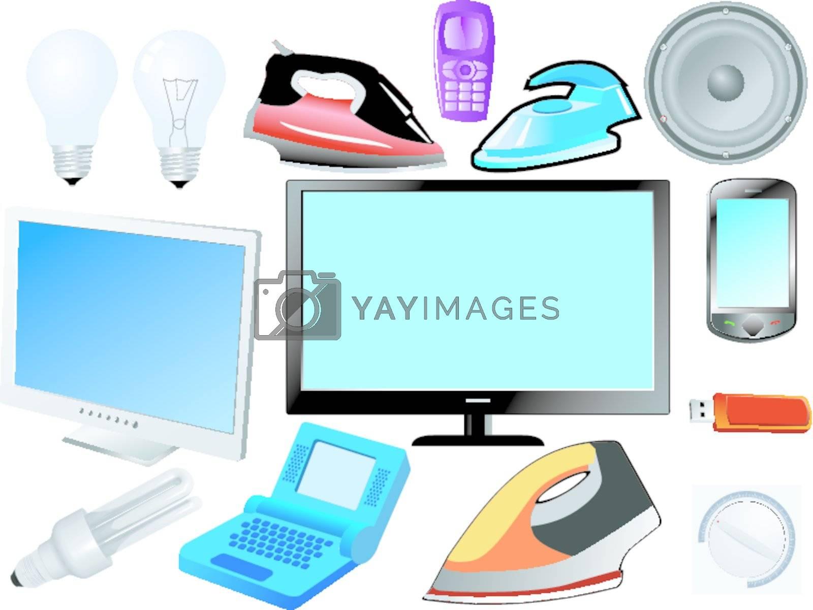set of the modern electronics