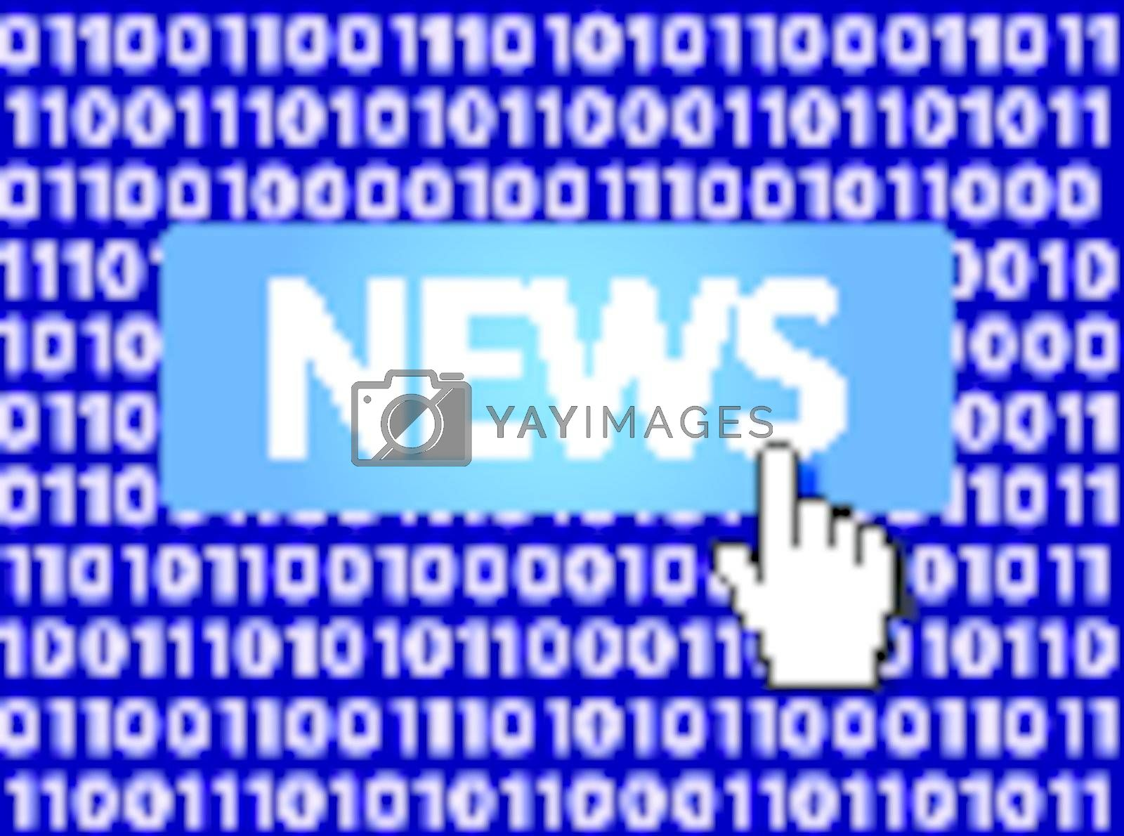 News Button with Hand Cursor. Vector Illustration.