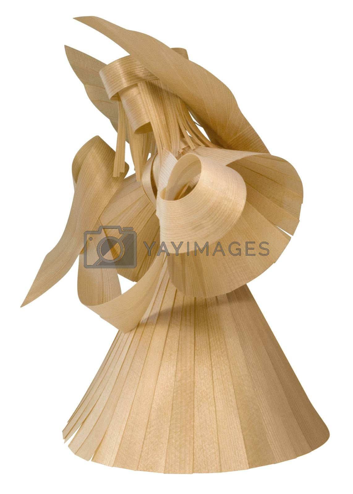 angel sculpture formed with paper thin wooden pieces in white back