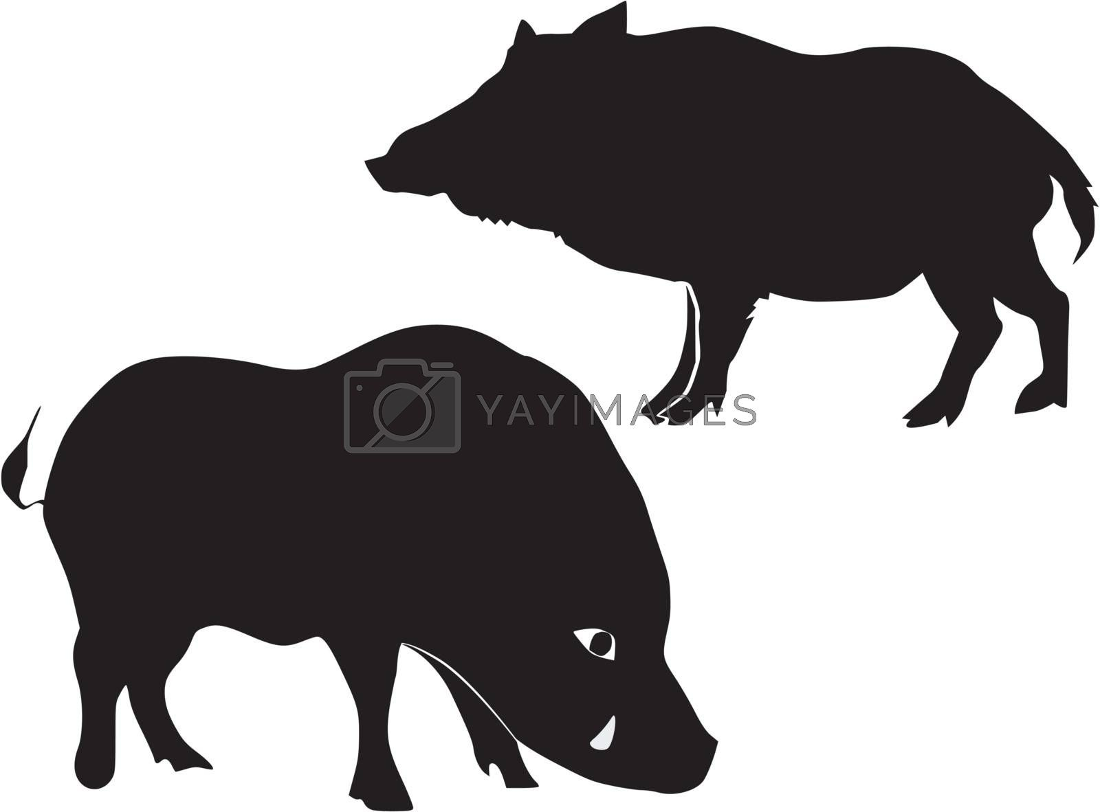 set of the silhouettes of the wild boar