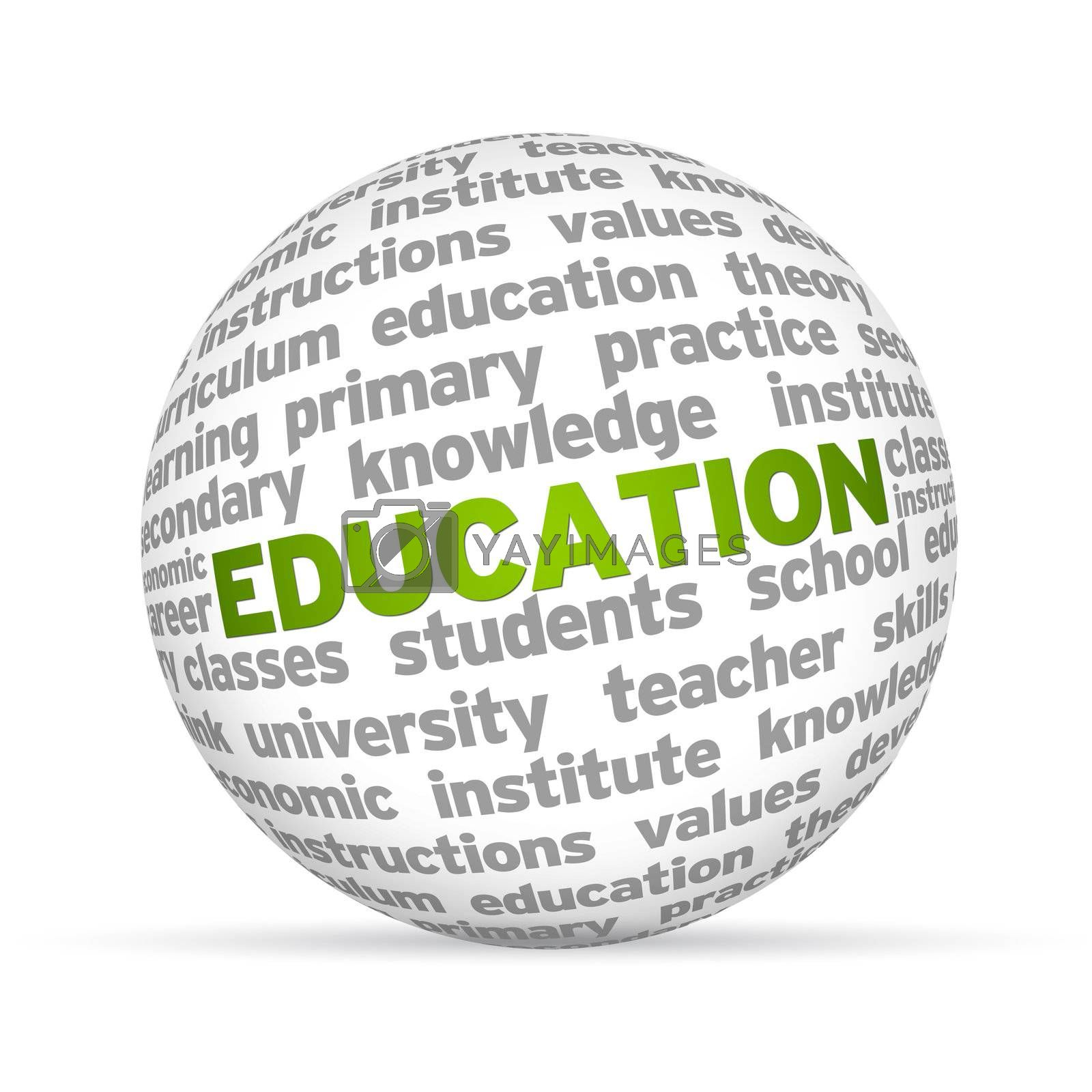 3D sphere with the word education on white background.
