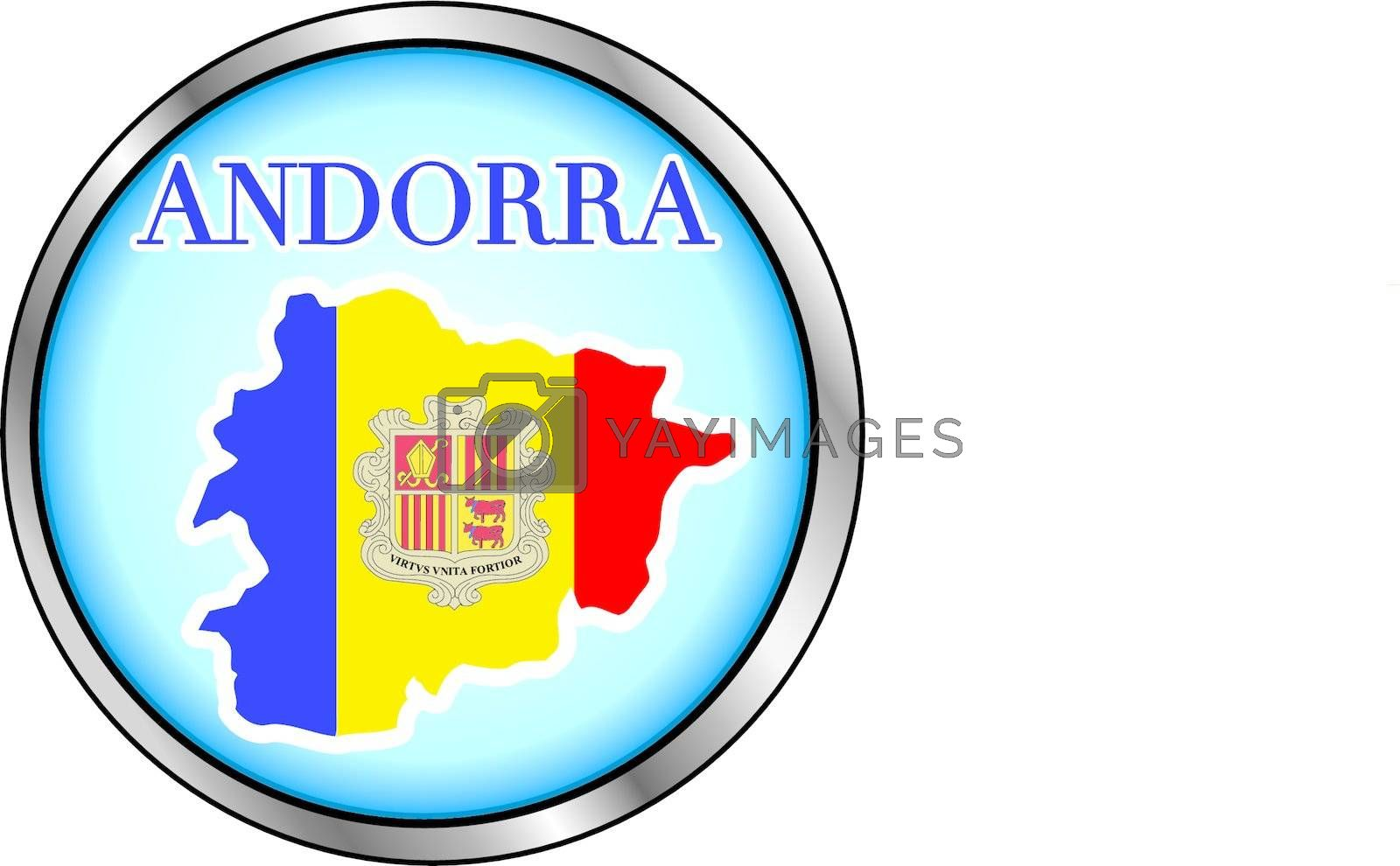 Vector Illustration for Andorra, Round Button.
