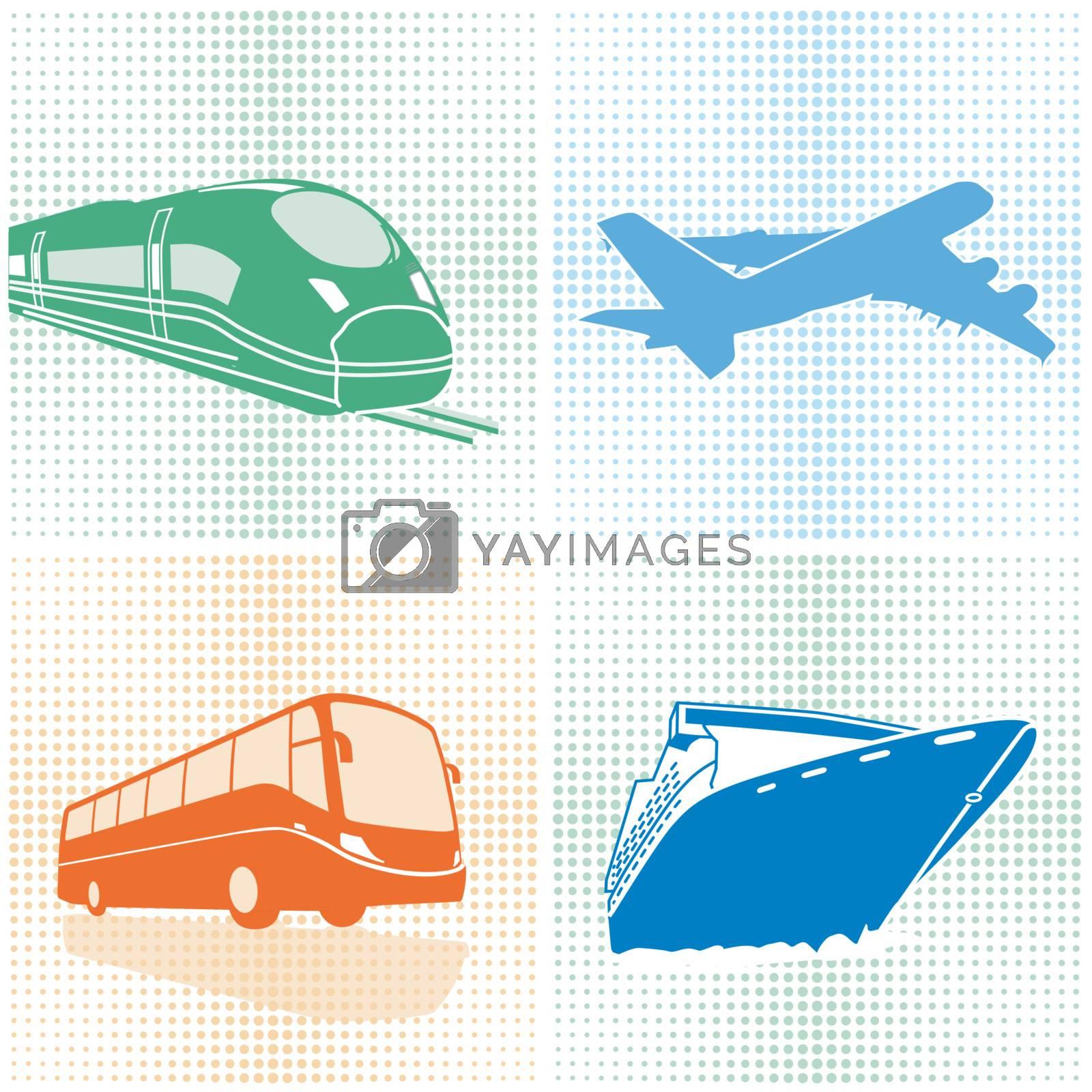 Airplane, bus, train, ship, transport
