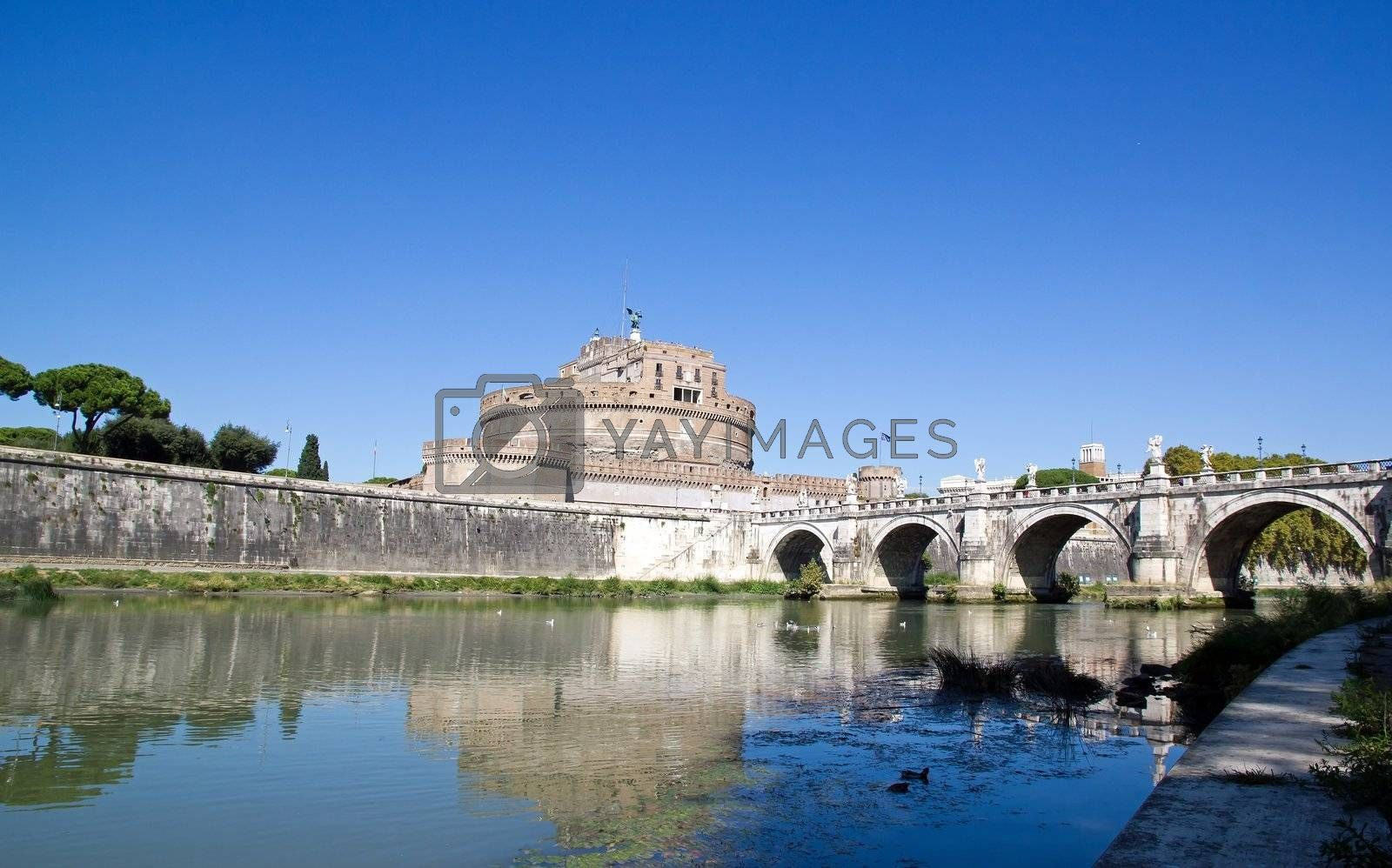 St Angel Castle and bridge, seen from one bank of the Tiber   Rome Italy