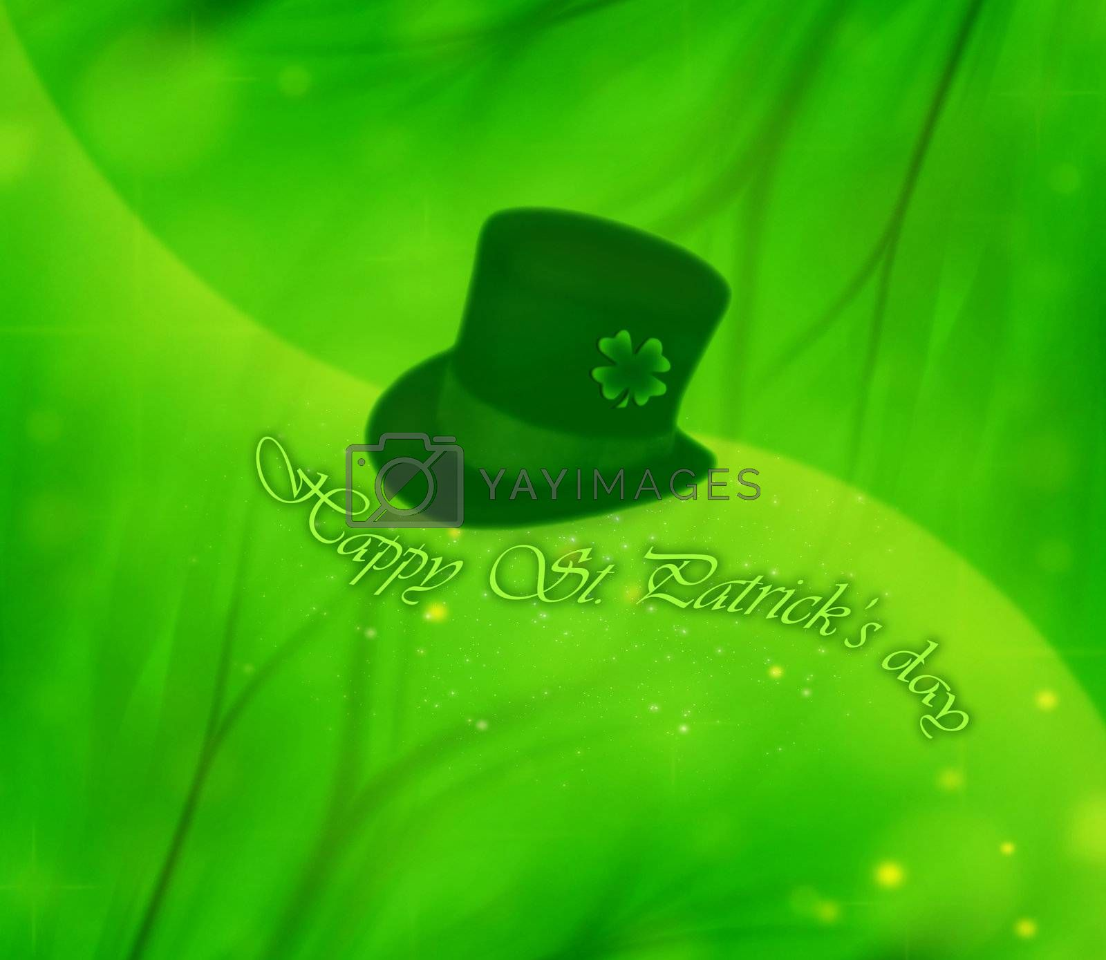 Green clover holiday bachground collage, st.Patrick's day decoration, leprechaun's hat