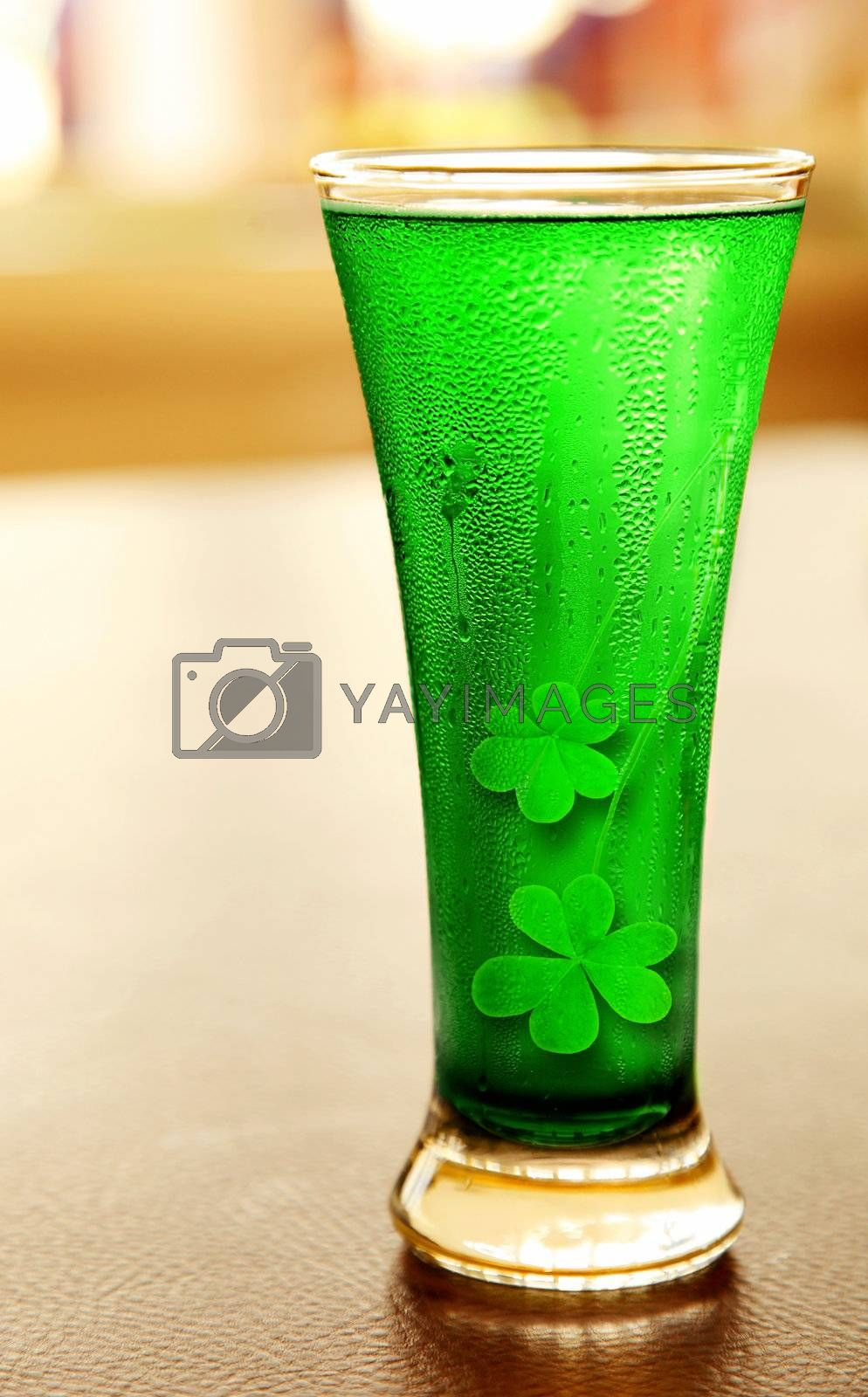 Cold green clover beer for st.Patrick's day holiday celebration, lucky concept