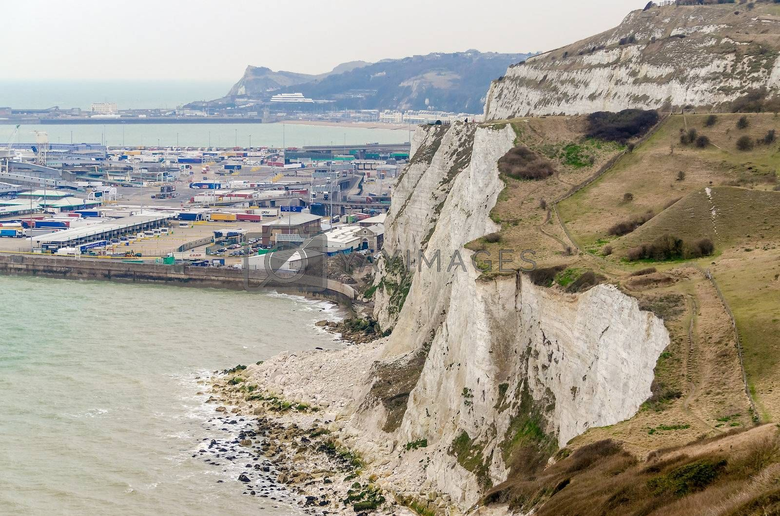 The White Cliffs of Dover facing Continental Europe on the English Channel