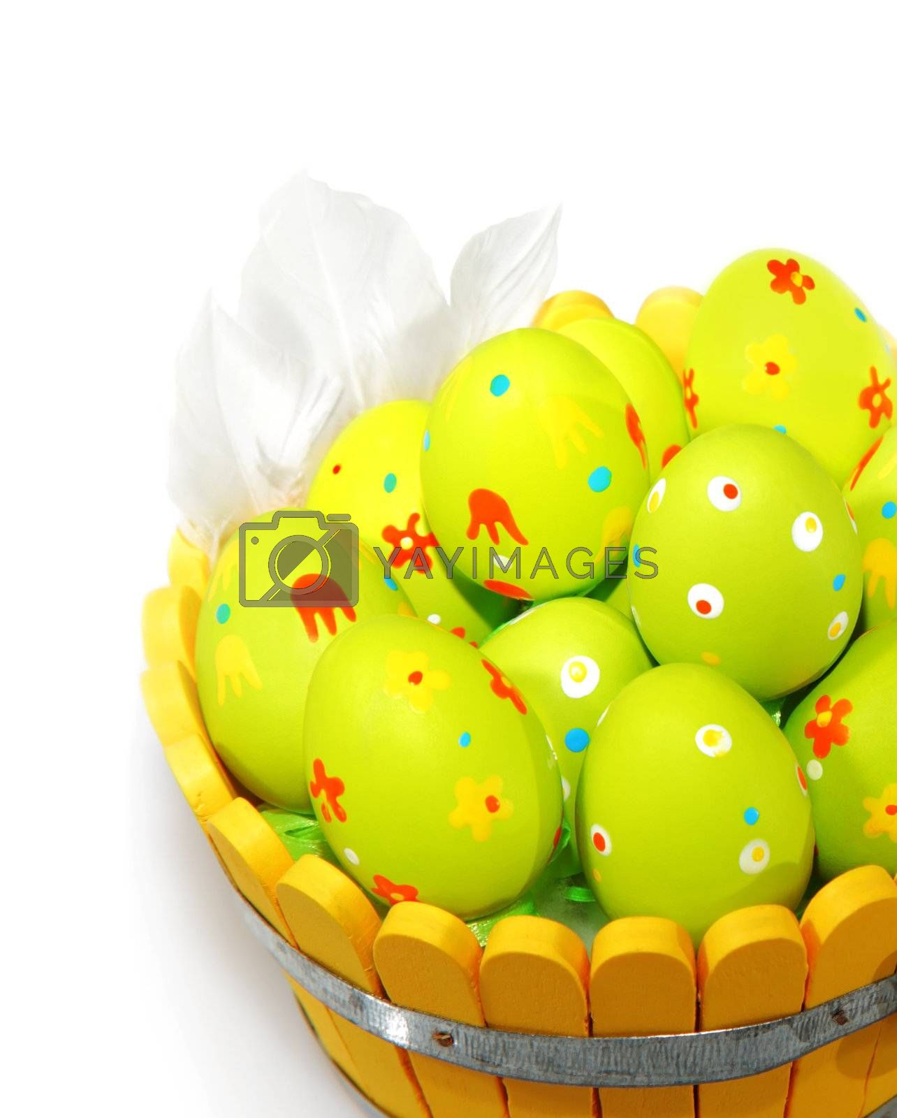 Easter eggs with feathers isolated on white background