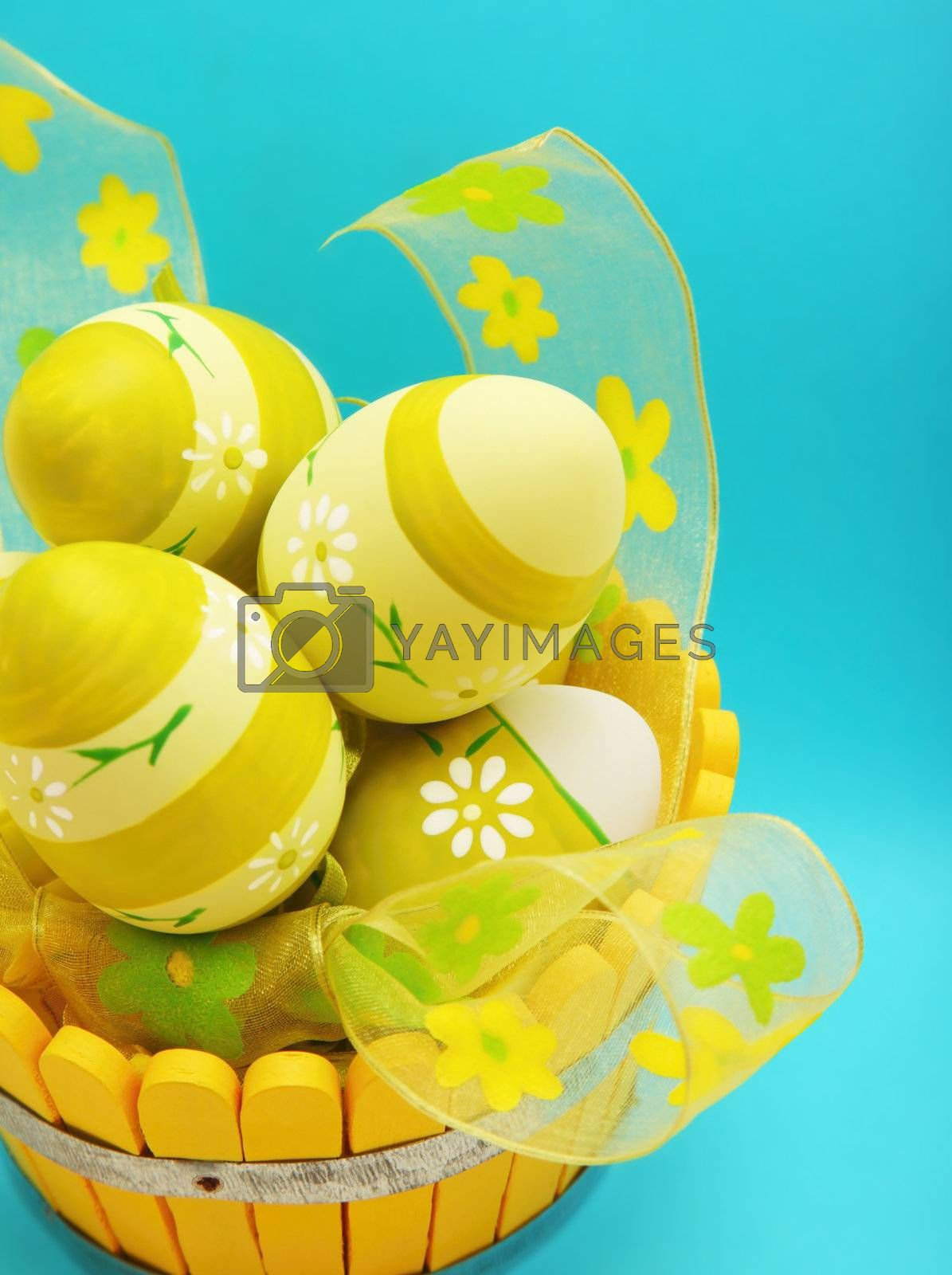 Easter eggs in the basket isolated on blue background