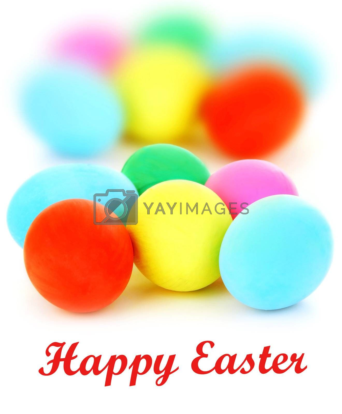 Colorful Easter eggs with selective focus isolated on white background