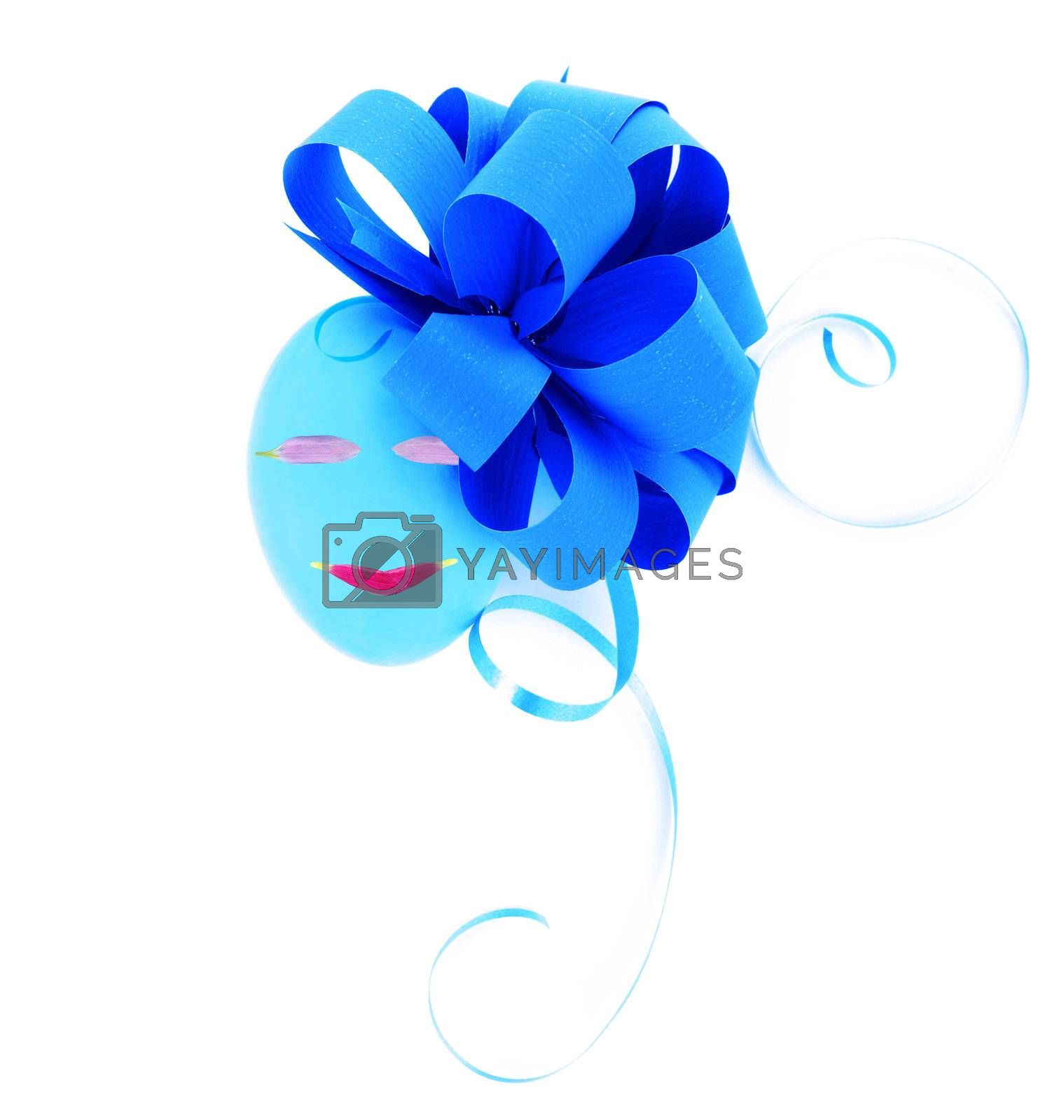 Easter egg decorated with festive blue bow isolated on white background