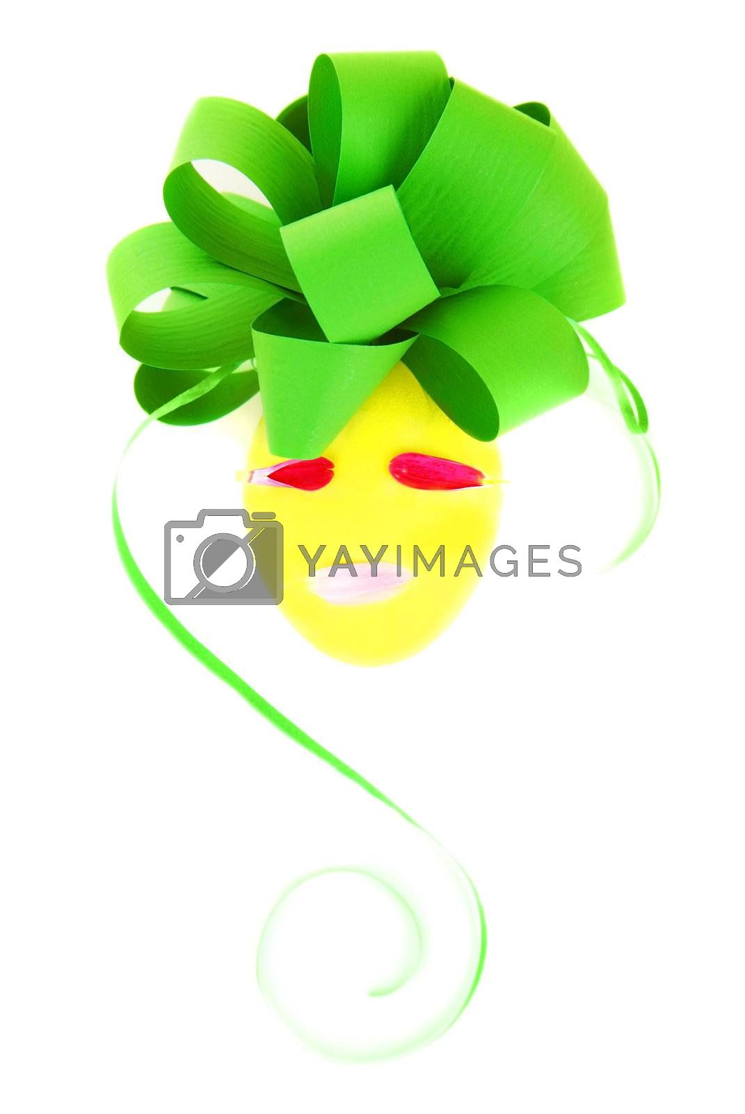 Easter egg decorated with festive green bow isolated on white background