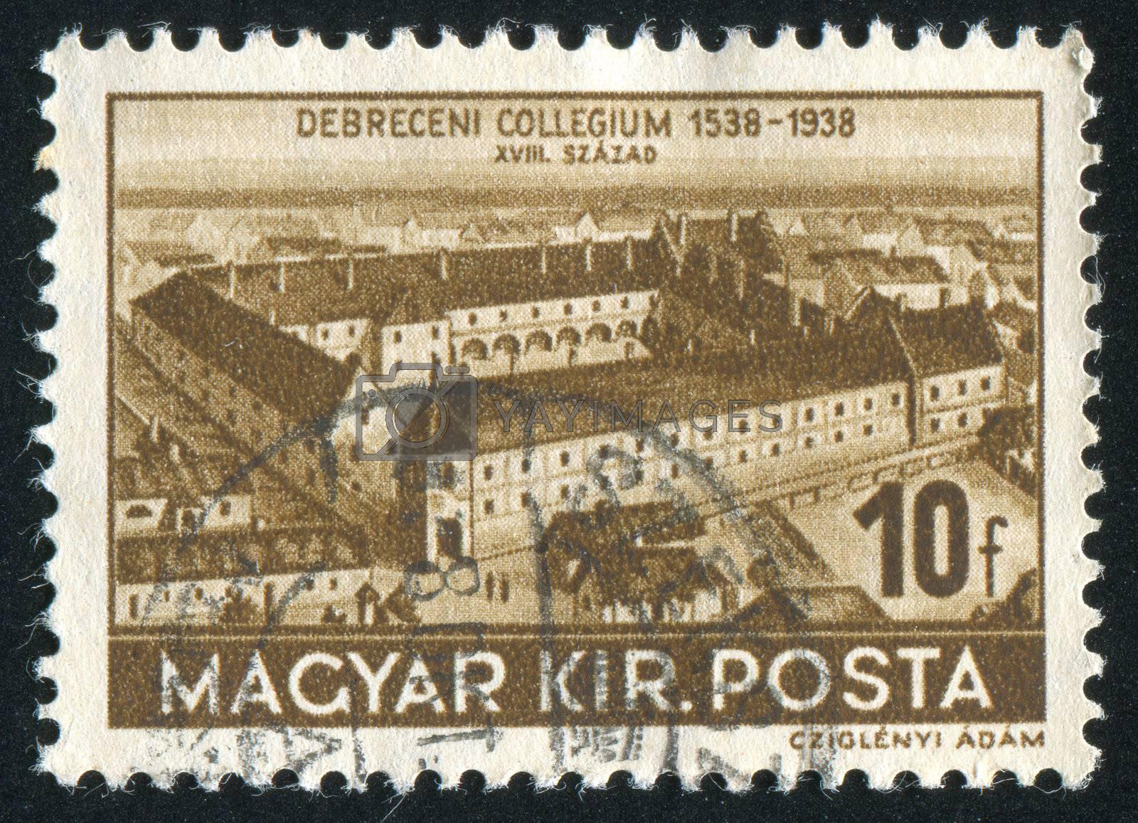 HUNGURY - CIRCA 1938: stamp printed by Hungury, shows College of Debrecen, circa 1938