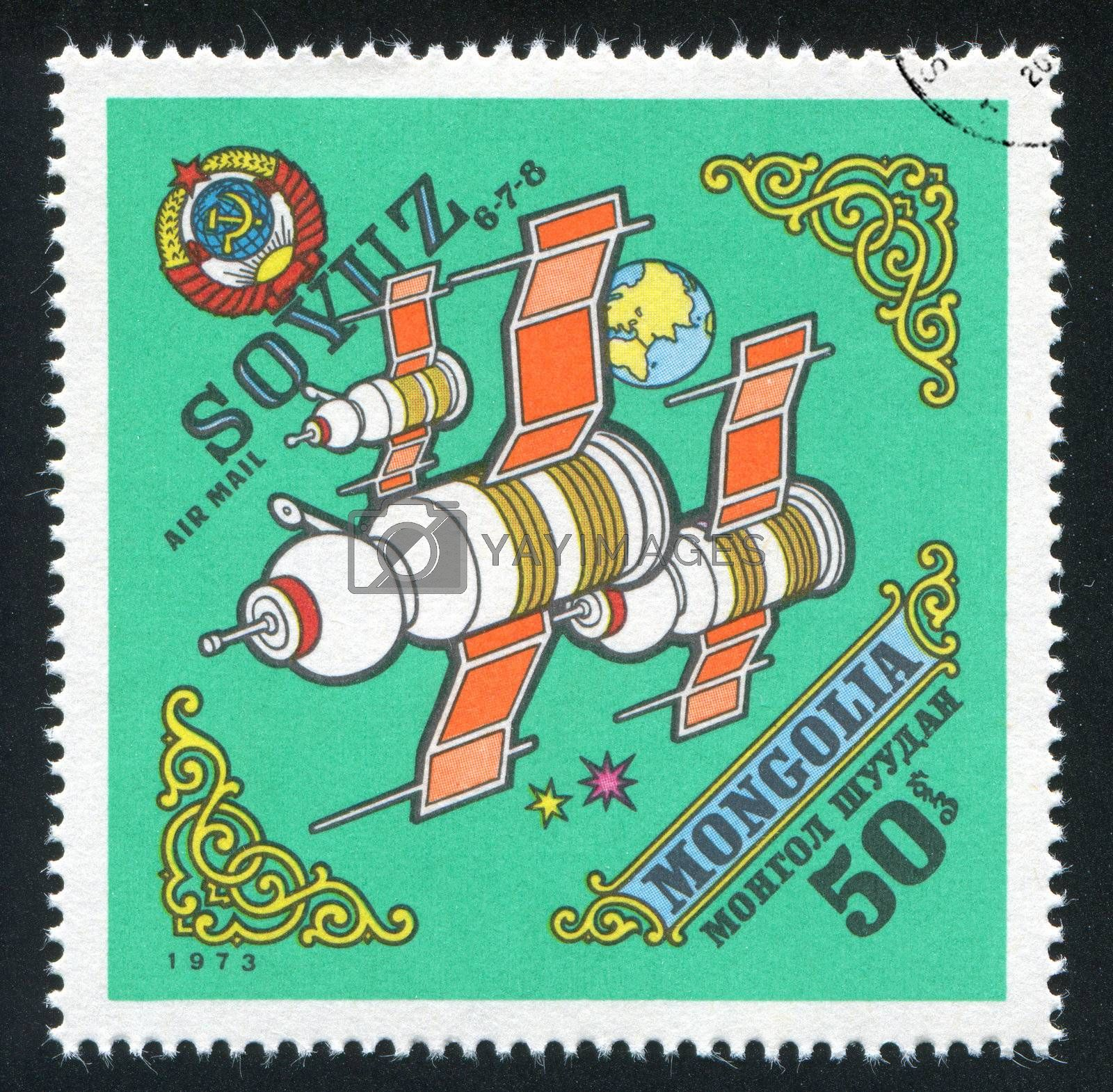MONGOLIA - CIRCA 1973: stamp printed by Mongolia, shows  space satellite, circa 1973