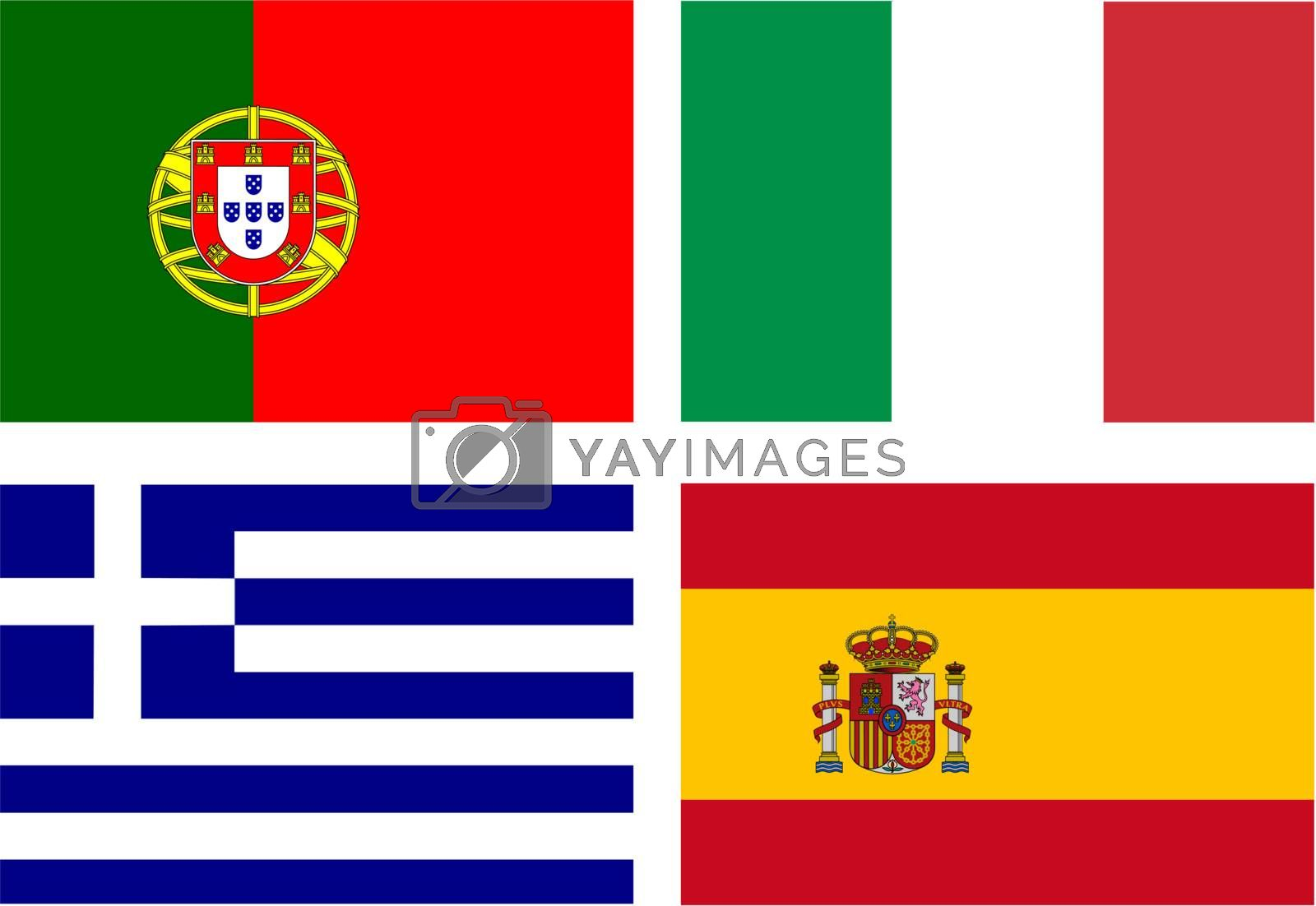 flags of the PIGS (Portugal, Italy, Greece, Spain) - eurozone countries with a serious financial crisis -  isolated vector illustration