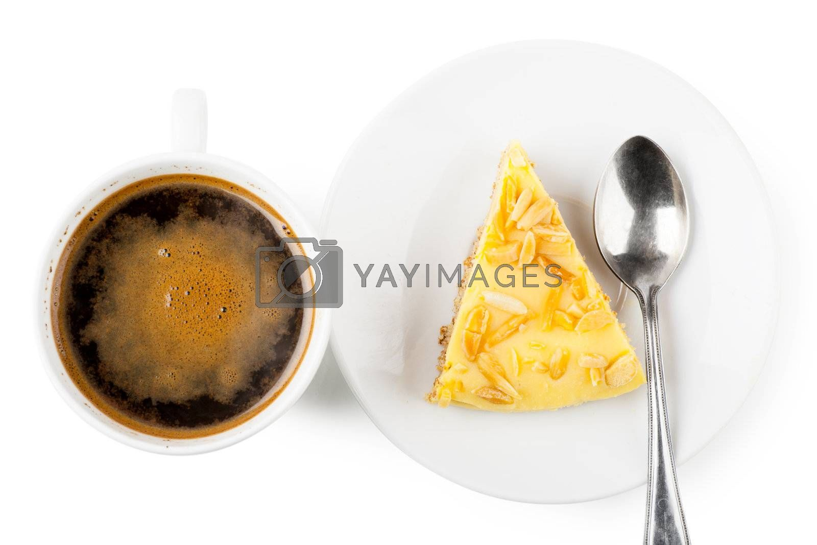 Top view of cup of coffee and piece of pie