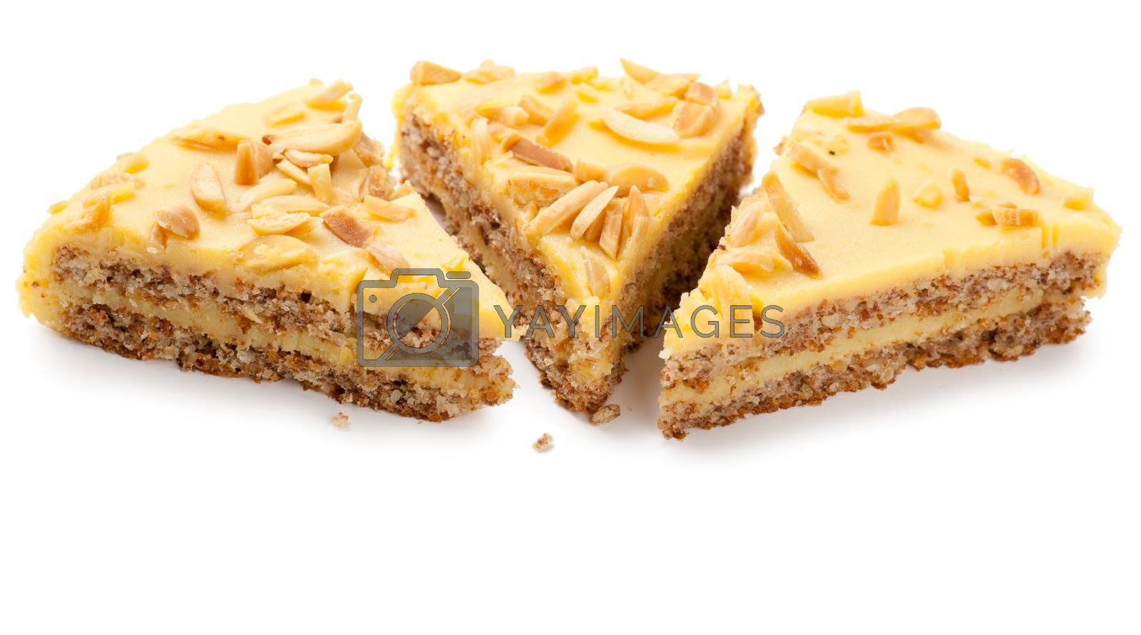 Closeup view of three pieces of sweet pie