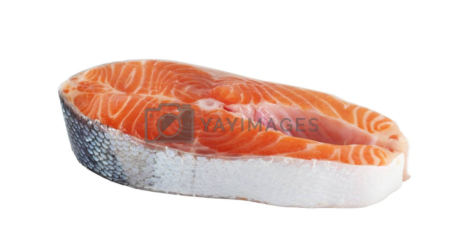 Raw trout steak isolated on white background