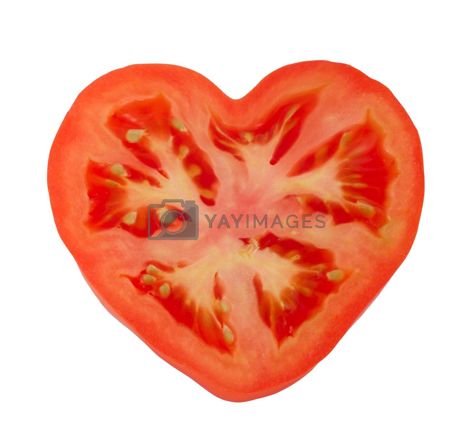 One tomato isolated on white background