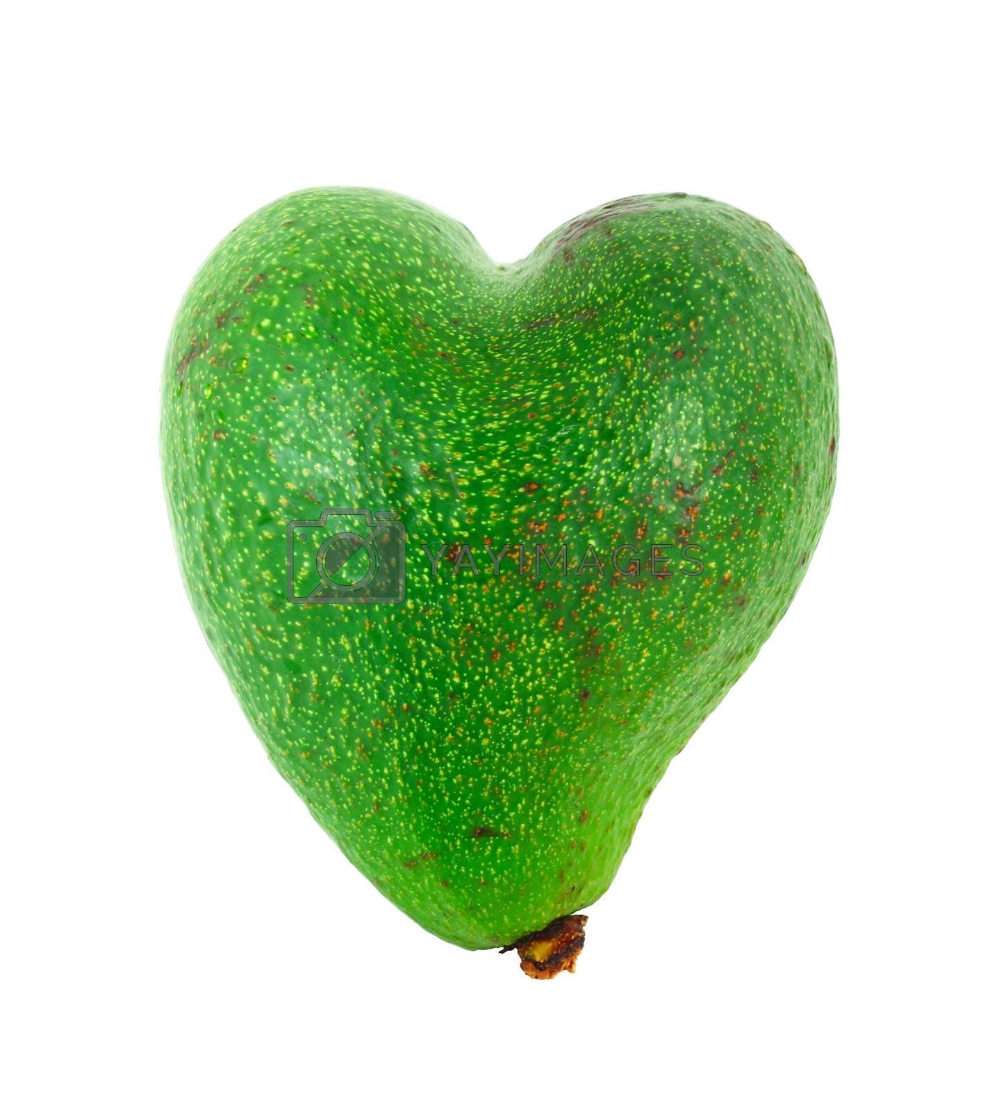 Avocado shaped like heart healthcare concept