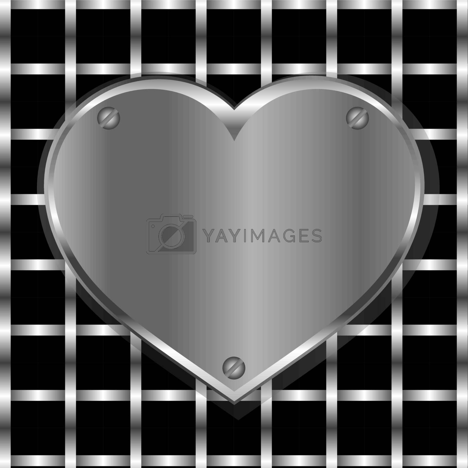 Brushed metal heart on a perforated metal vector background